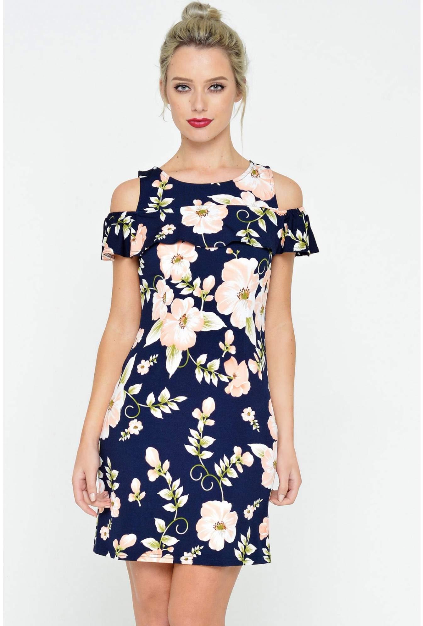 7517620d81c8 Stella Tina Floral Print Shift Dress in Multi Navy