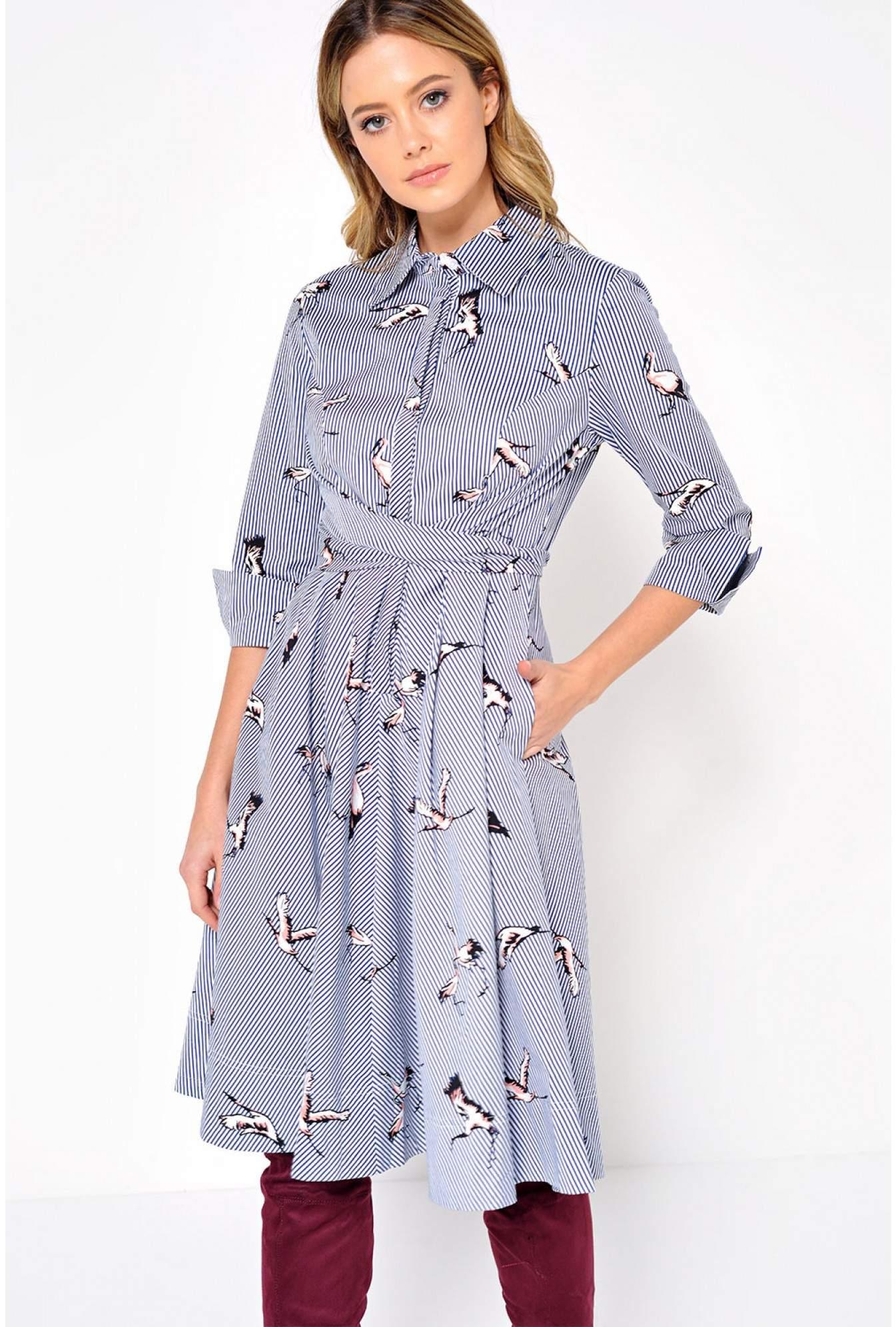 bc70928a1 Stella Kellice Bird Stripe Shirt Dress | iCLOTHING