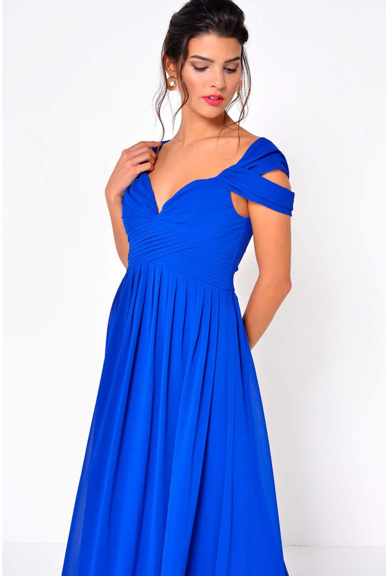0fcd3a56c4ef7 Stella Sandy Off Shoulder Maxi Dress in Blue | iCLOTHING