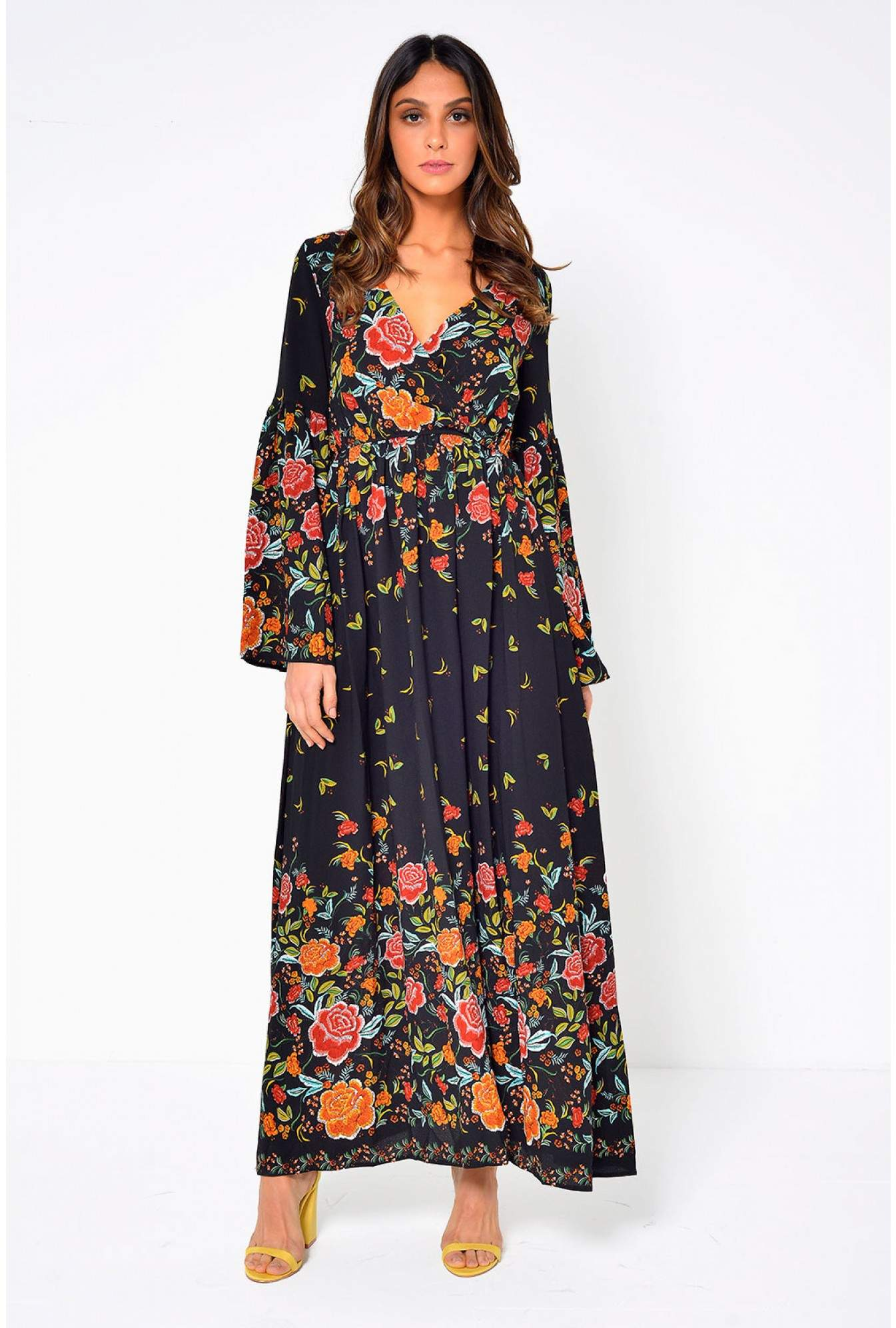 afd622075cd More Views. Debbie Wrap Front Maxi Dress in Black Floral
