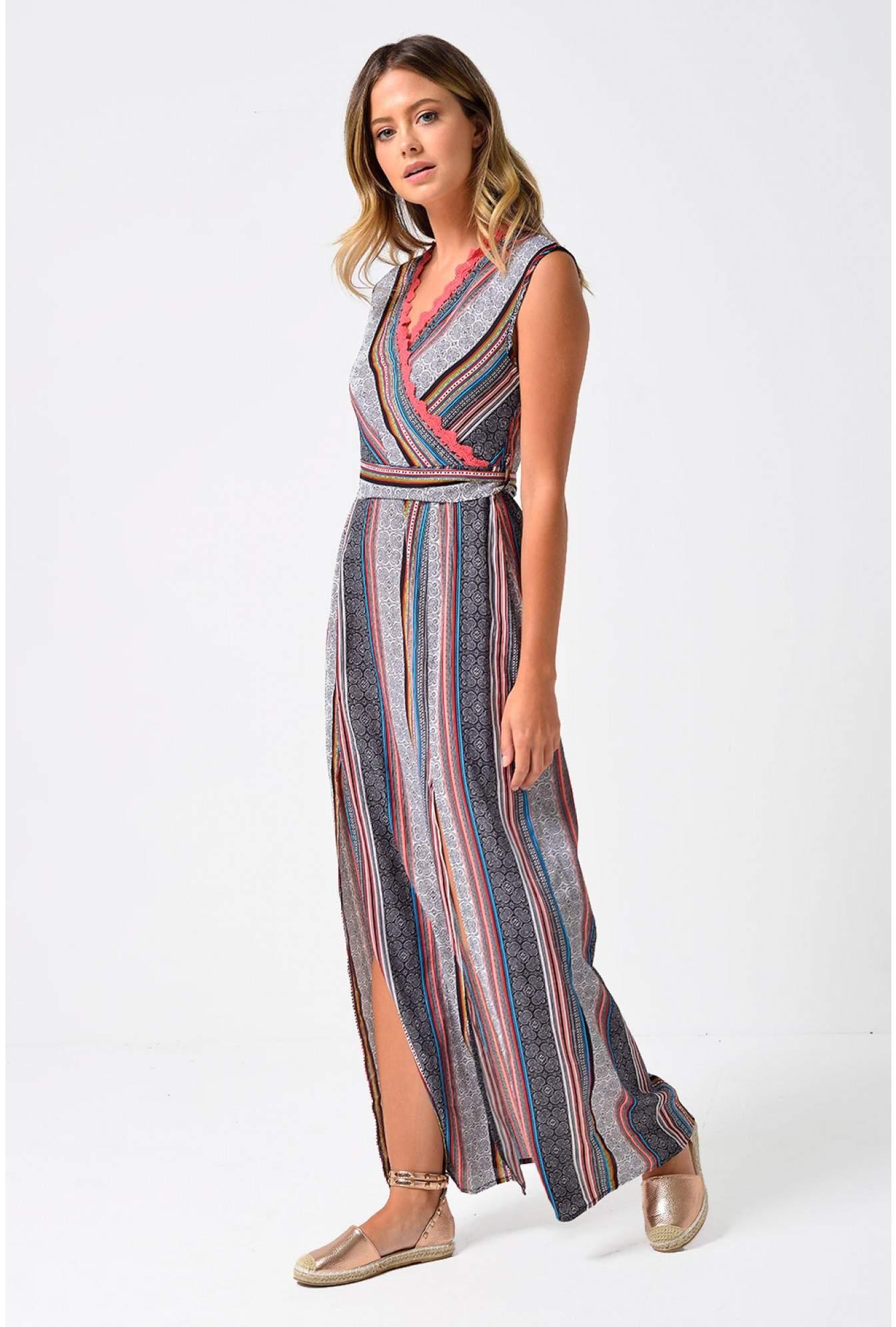 3d17cae7cc868 More Views. Kara Crochet Trim Stripe Maxi Dress