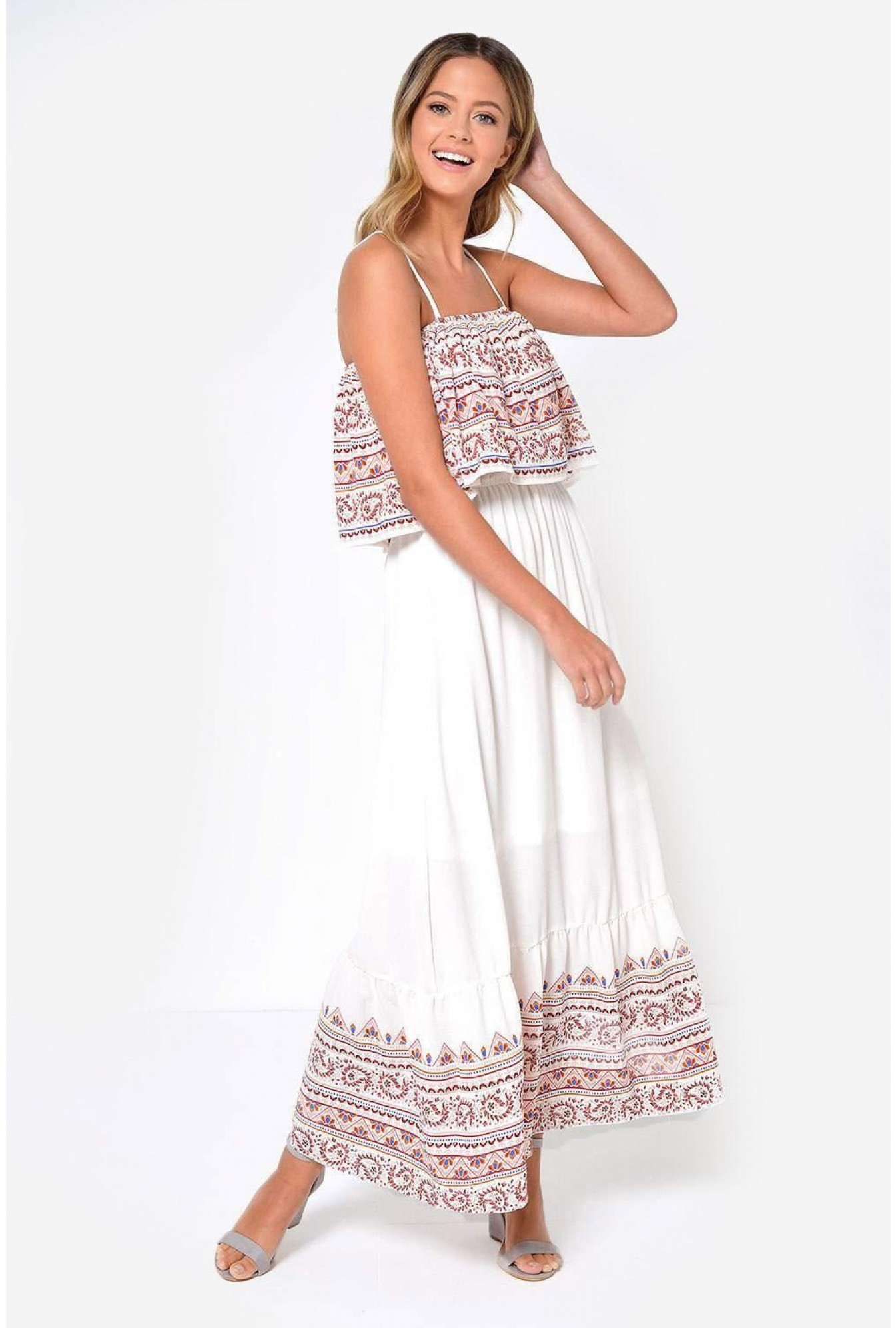 33c00c36479 More Views. Shelly Printed Maxi Dress in Off White