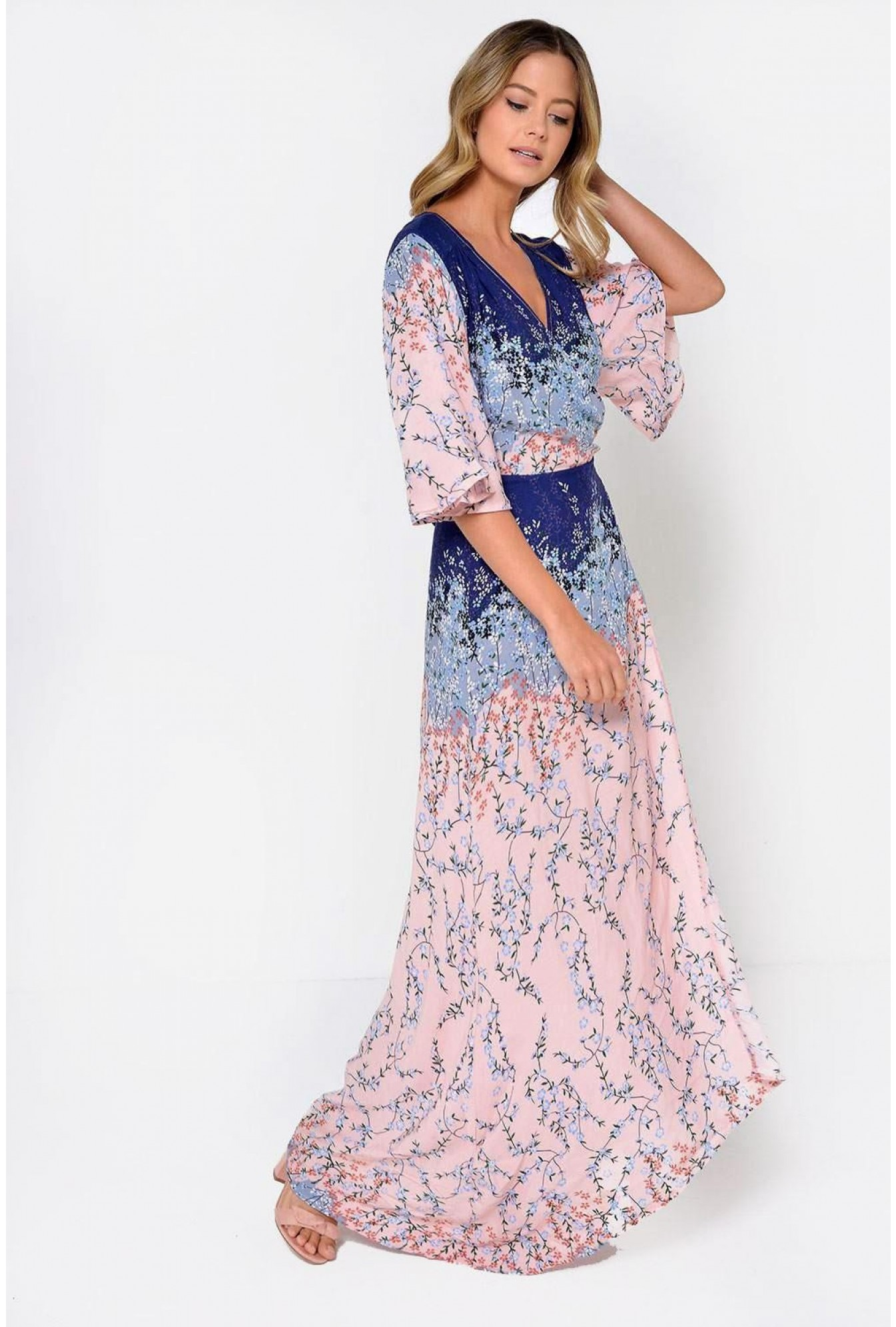 e9329ea807 Stella Anna Floral Wrap Maxi Dress in Pink   iCLOTHING