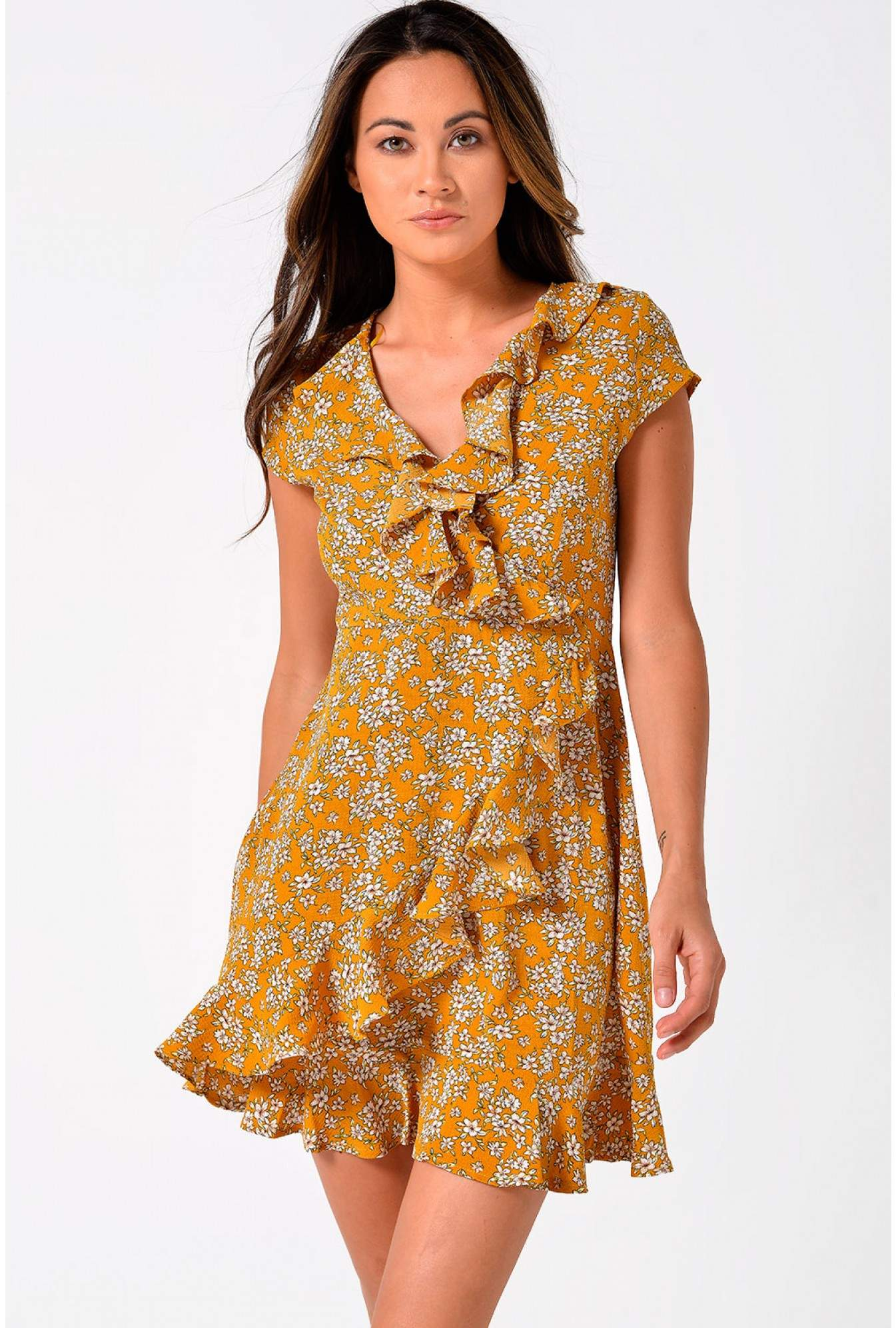 756c71bc7528 More Views. Lilly Floral Print Short Dress With Frill Hem in Mustard