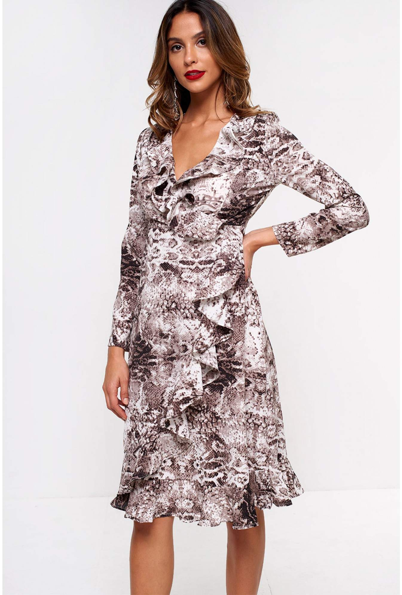 95ccf5fbaab6 Stella Cleo Frill Wrap Midi Dress in Snakeskin Print | iCLOTHING