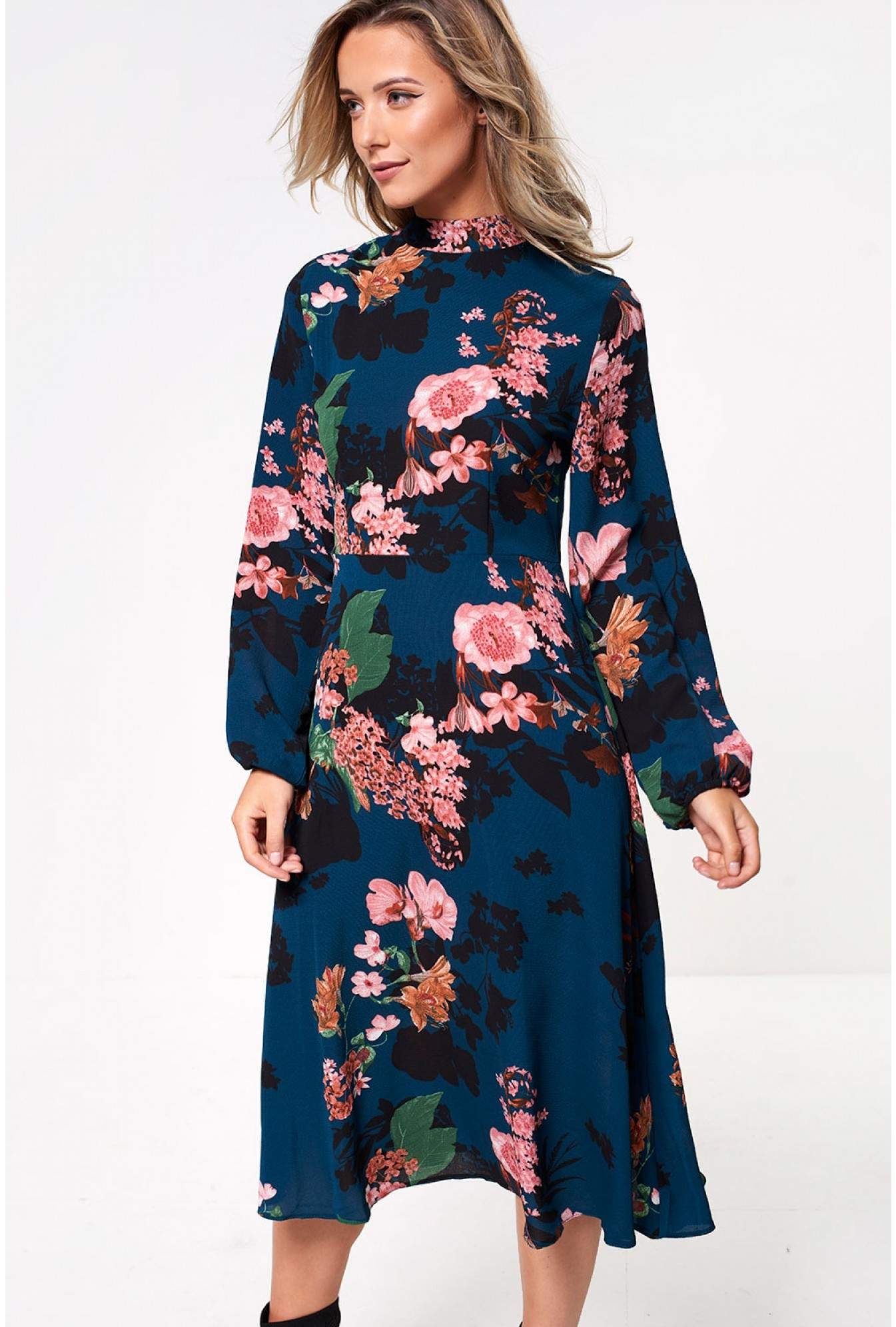 afe25f6f9cf Stella Jane High Neck Floral Midi Dress in Emerald | iCLOTHING