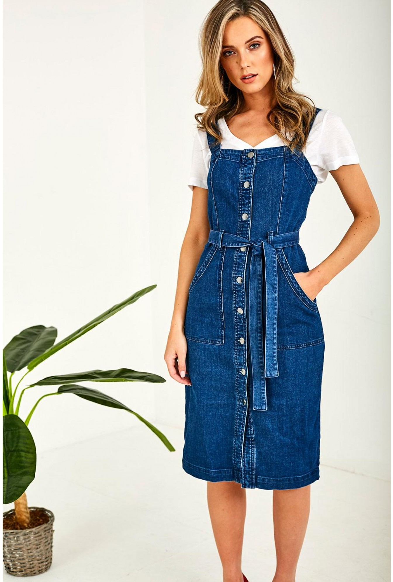 newest collection variety styles of 2019 new authentic Denim Button Through Pinafore Dress