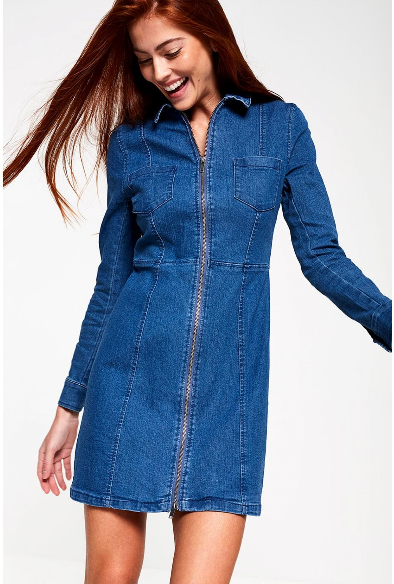 e61aa2b2aa2 Lisa Denim Dress with Zip Front in Mid Wash Blue