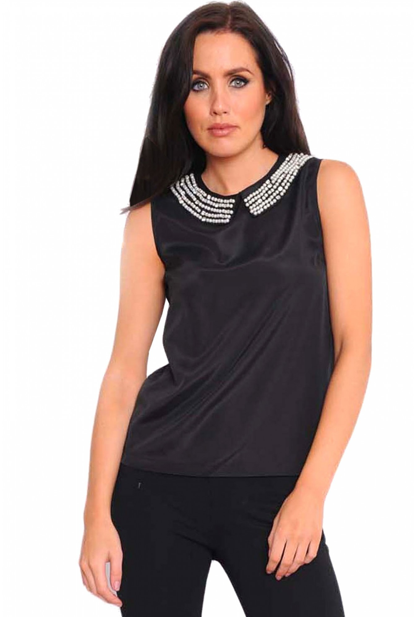 b90b4b545b4 More Views. Diana Pearl Embellished Collar Top in Black