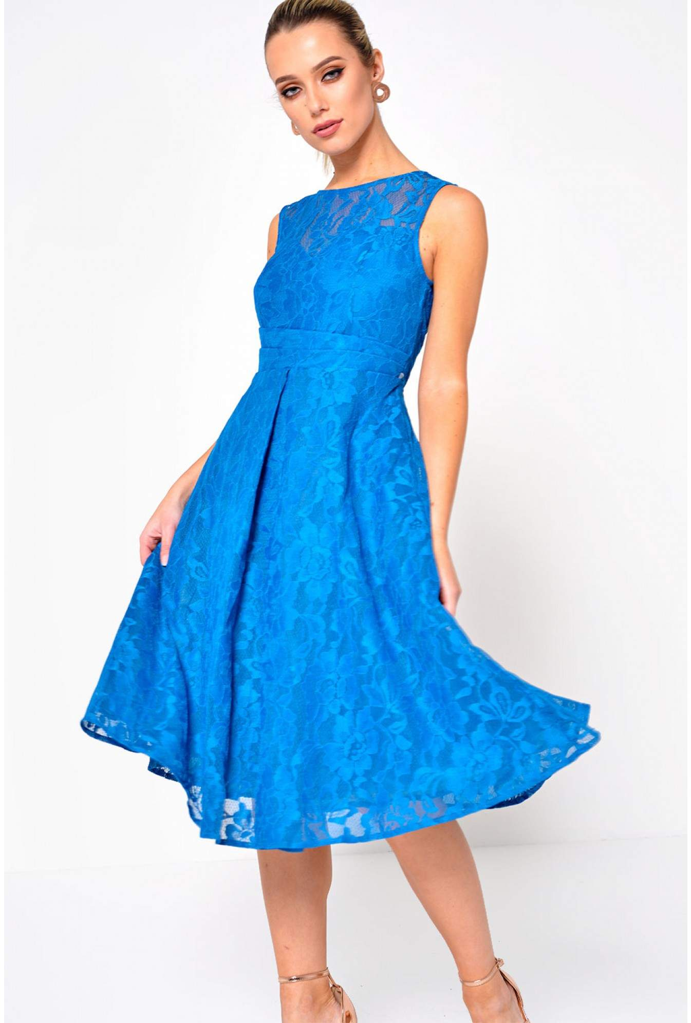 f8665099b8186 Jolie Moi Karlie Lace Skater Dress in Teal | iCLOTHING
