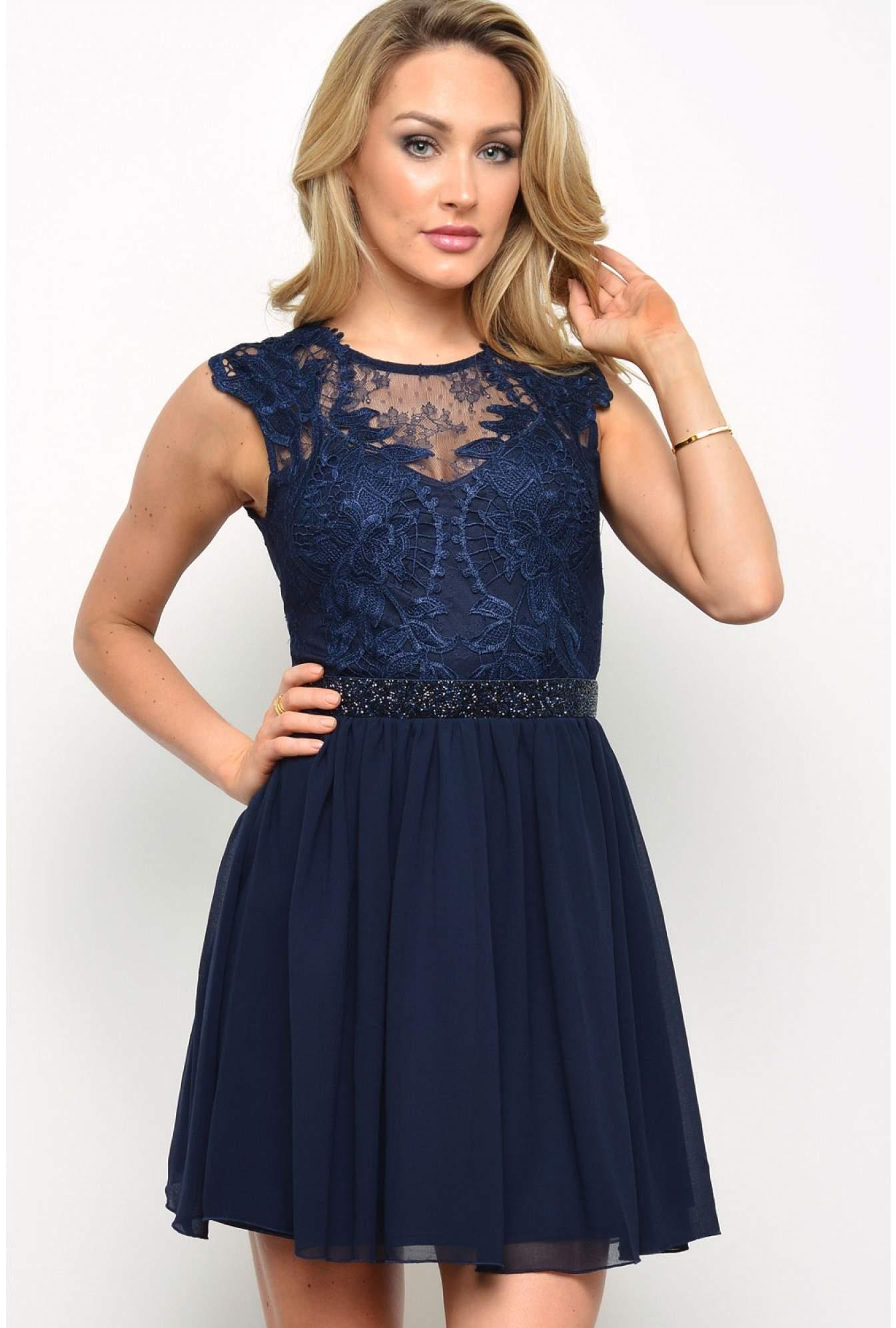 715ba7368e Lipsy Lipsy Lace Top Prom Dress in Navy   iCLOTHING