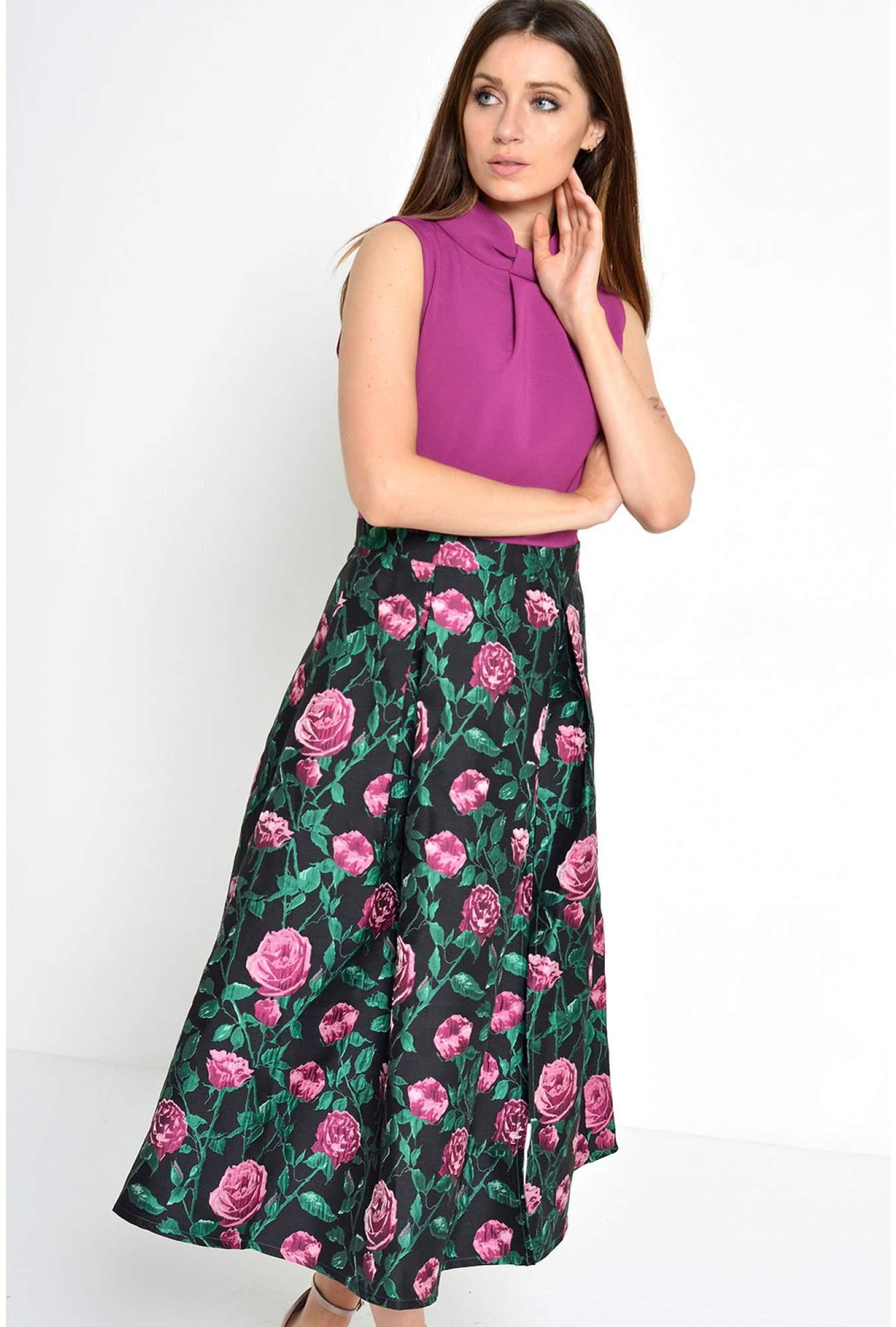 bcea7352c172 Maisy Helen High Neck Brocade Skirt Dress   iCLOTHING