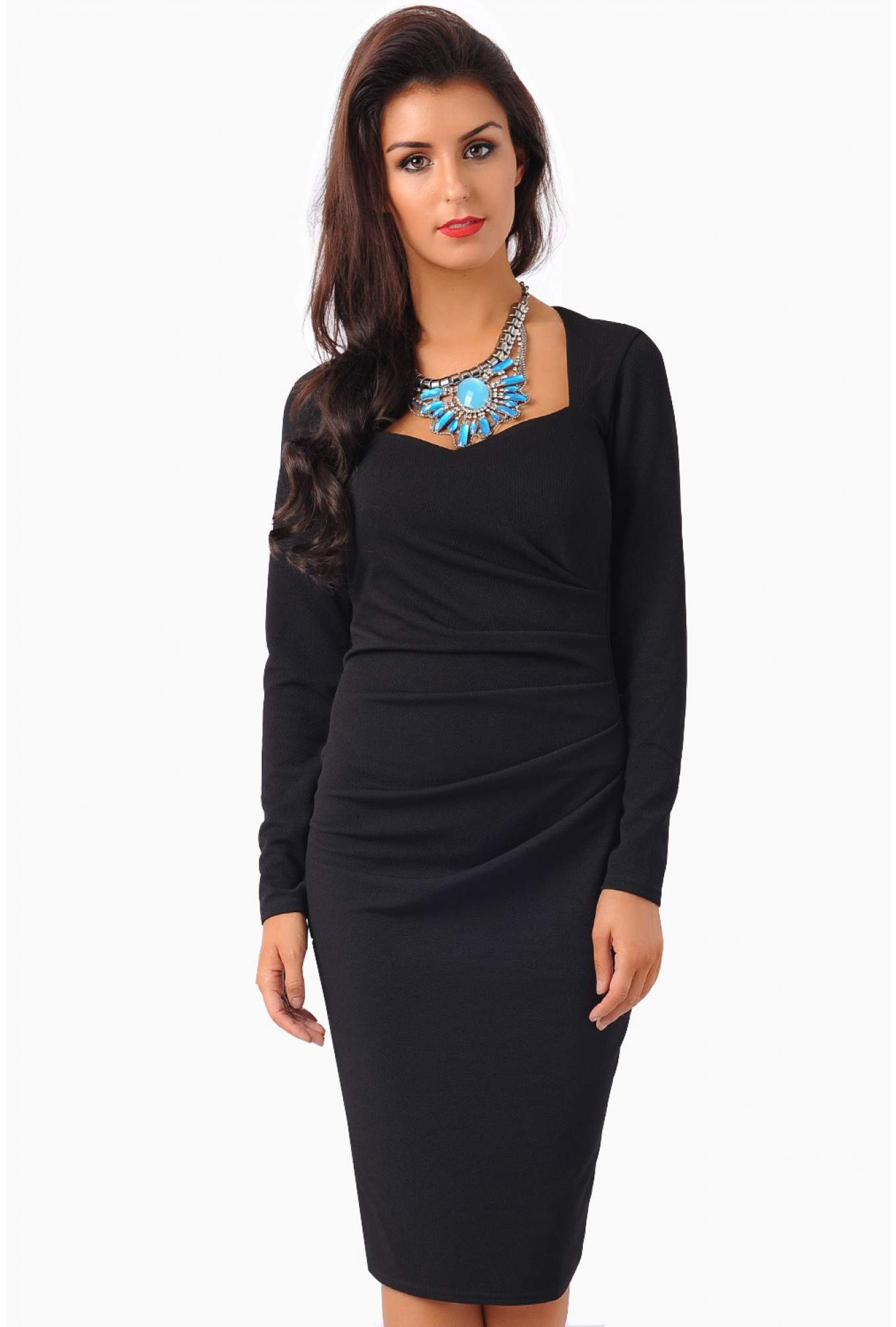 915d606ba8 Kimberly Ruched Jersey Dress in Black | iCLOTHING