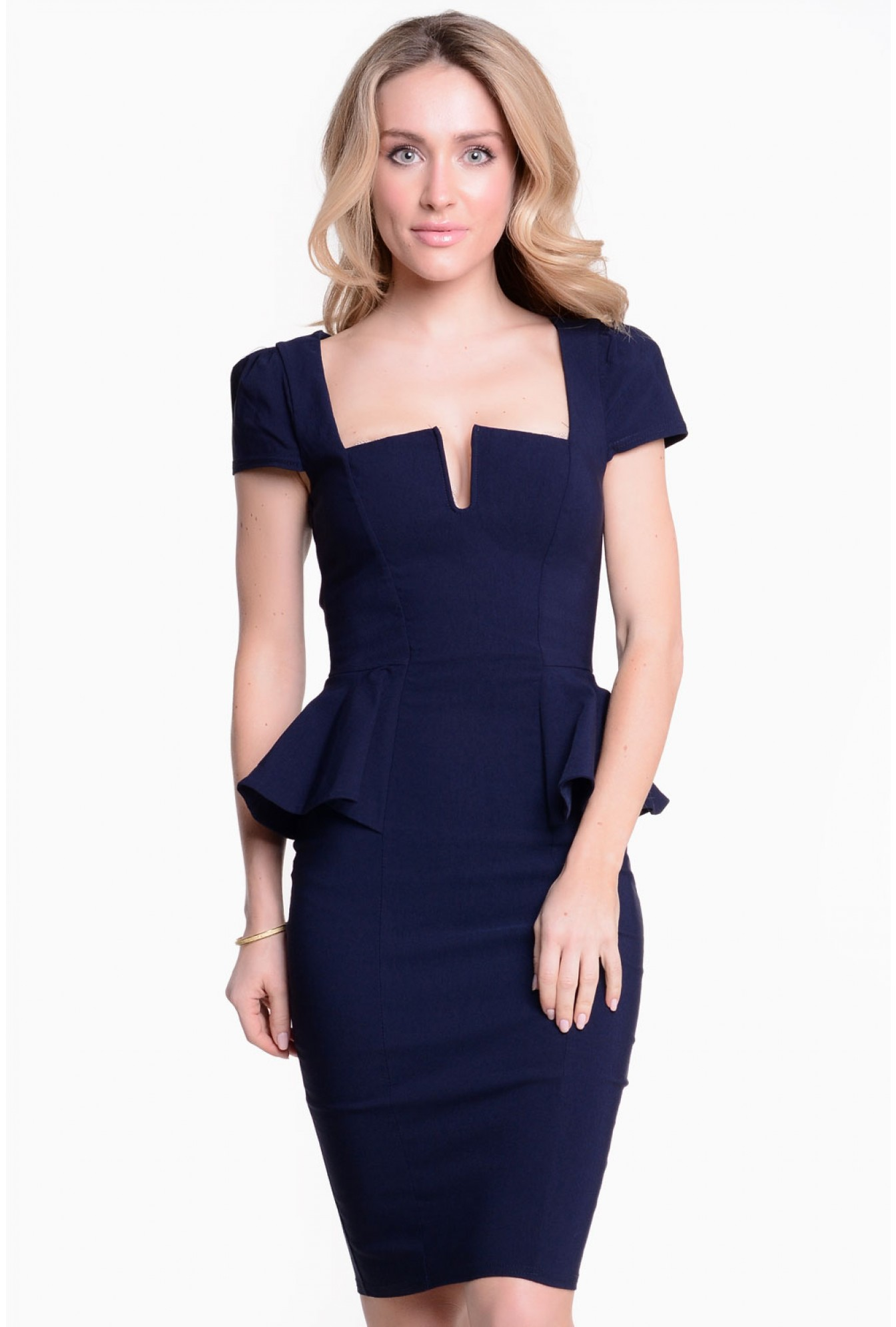 ee1df42a82 Goddiva Jennifer Side Peplum Midi Dress in Navy