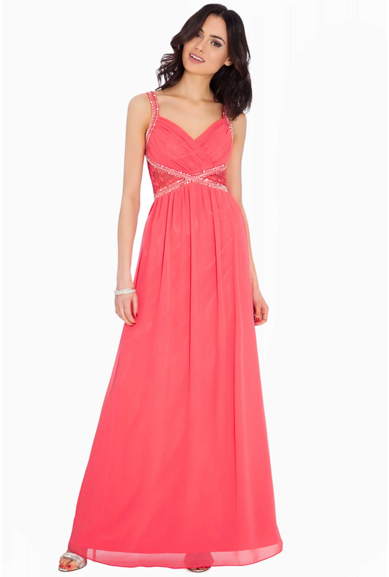 c0ec1db146 More Views. Elaine Embellished Chiffon Maxi Dress in Coral