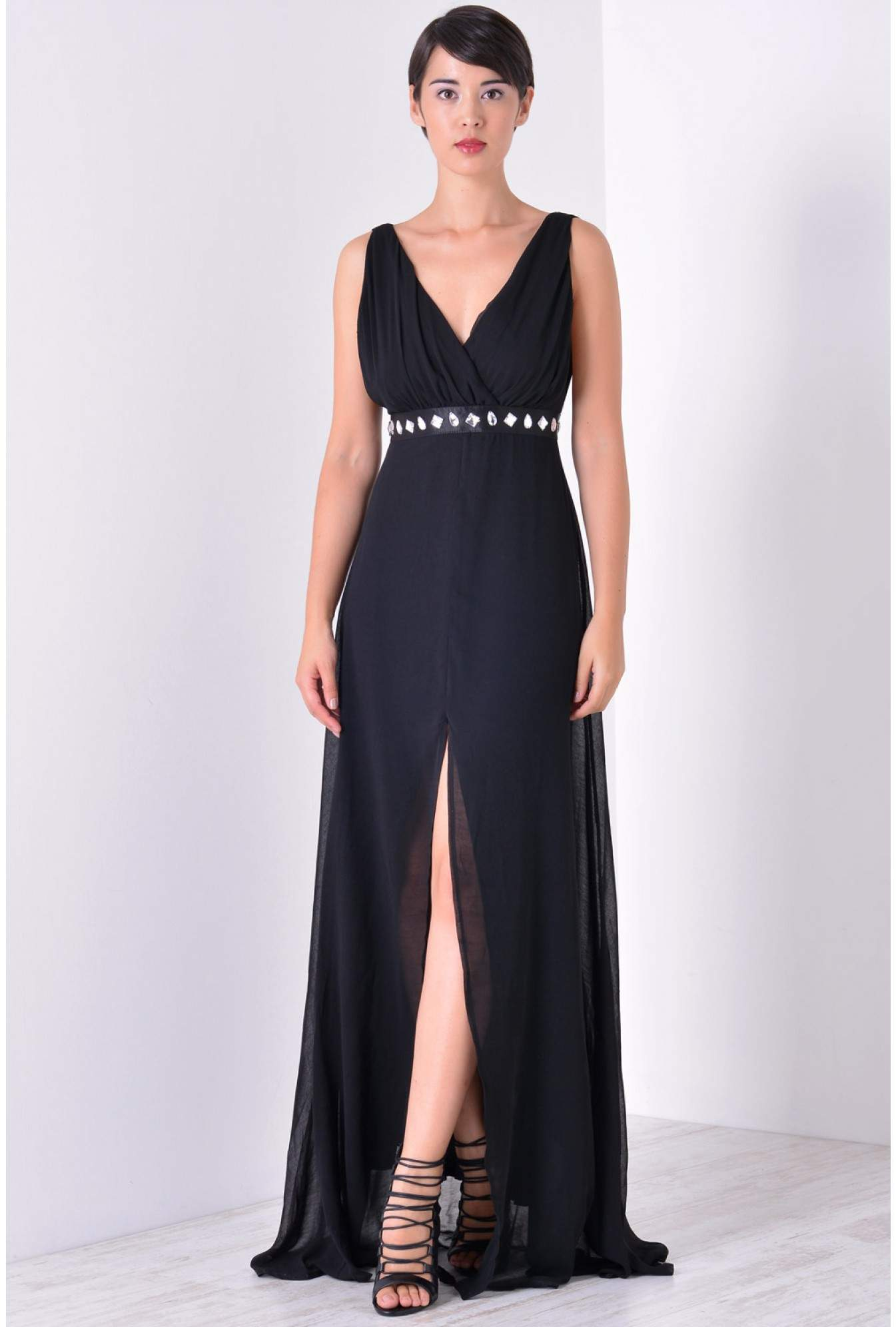 d8449c6fe436 Goddiva Daisy Diamante Belt Maxi Dress in Black | iCLOTHING
