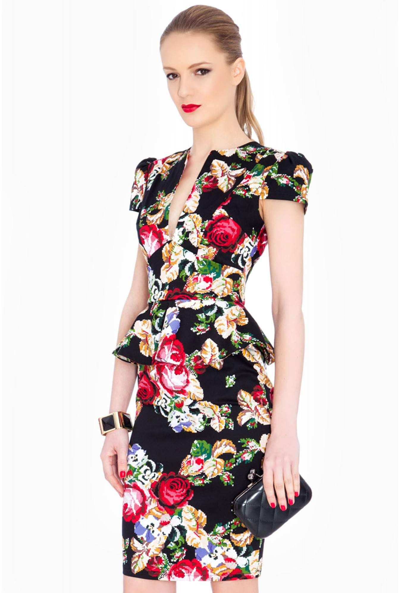 210d89d5100 city goddess Cheri Floral Deep V Neck Cap Sleeve Peplum Midi Dress ...