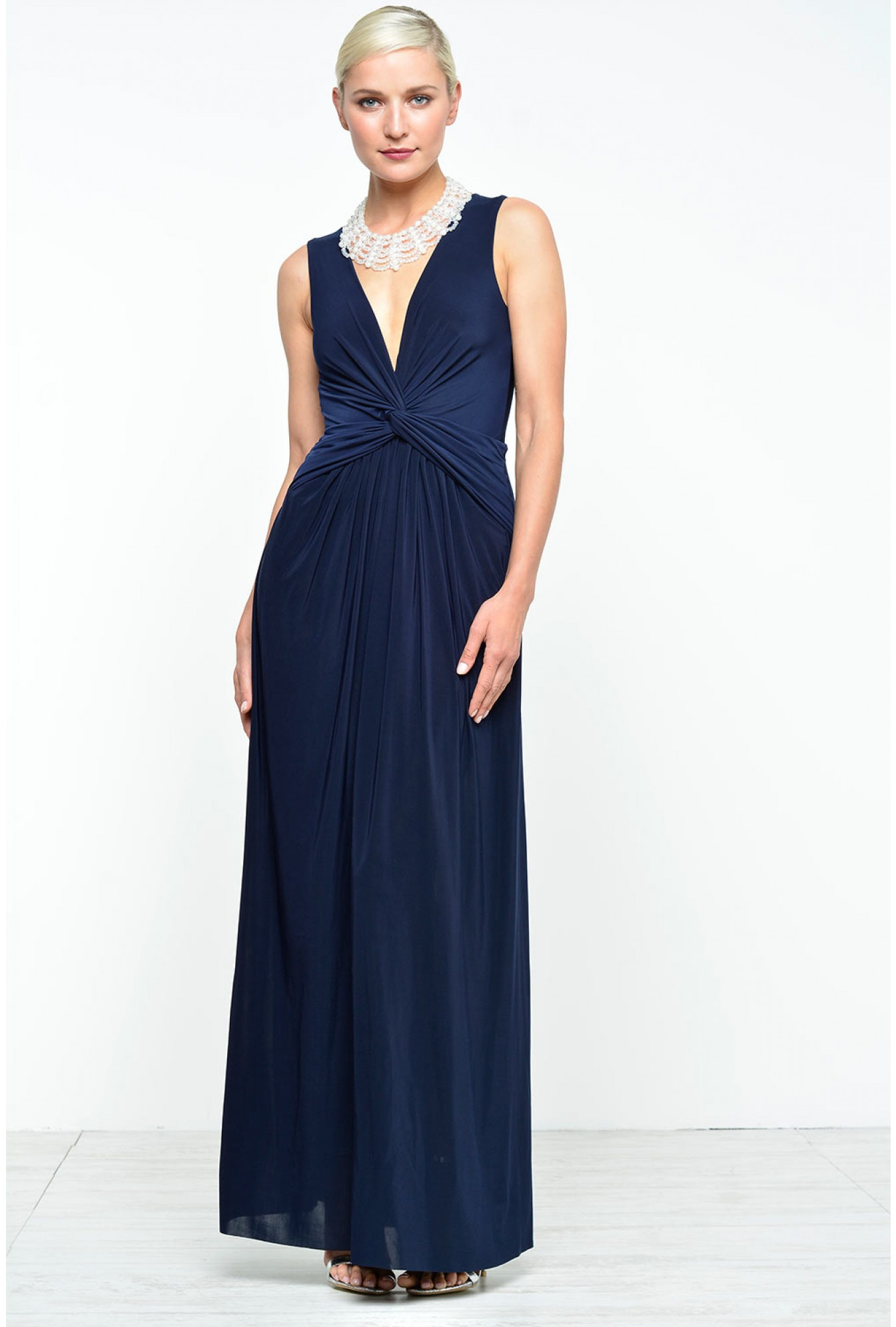 1b36d8c861ee7 Tilly Deep V Knotted Maxi Dress in Navy