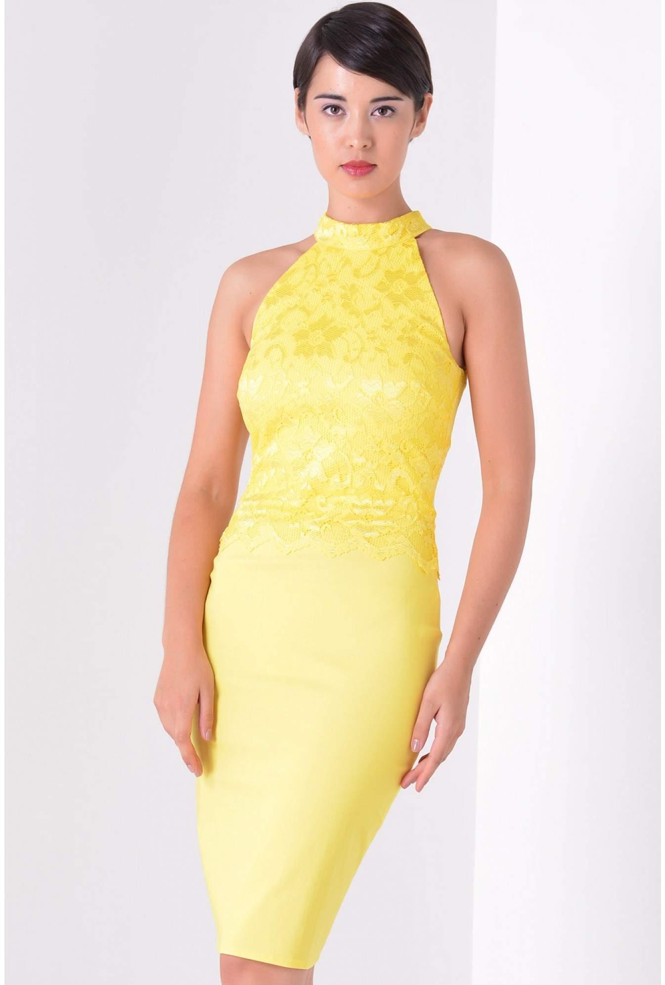 d7efdafc Goddiva Tania Lace Panel Halter Dress in Yellow | iCLOTHING