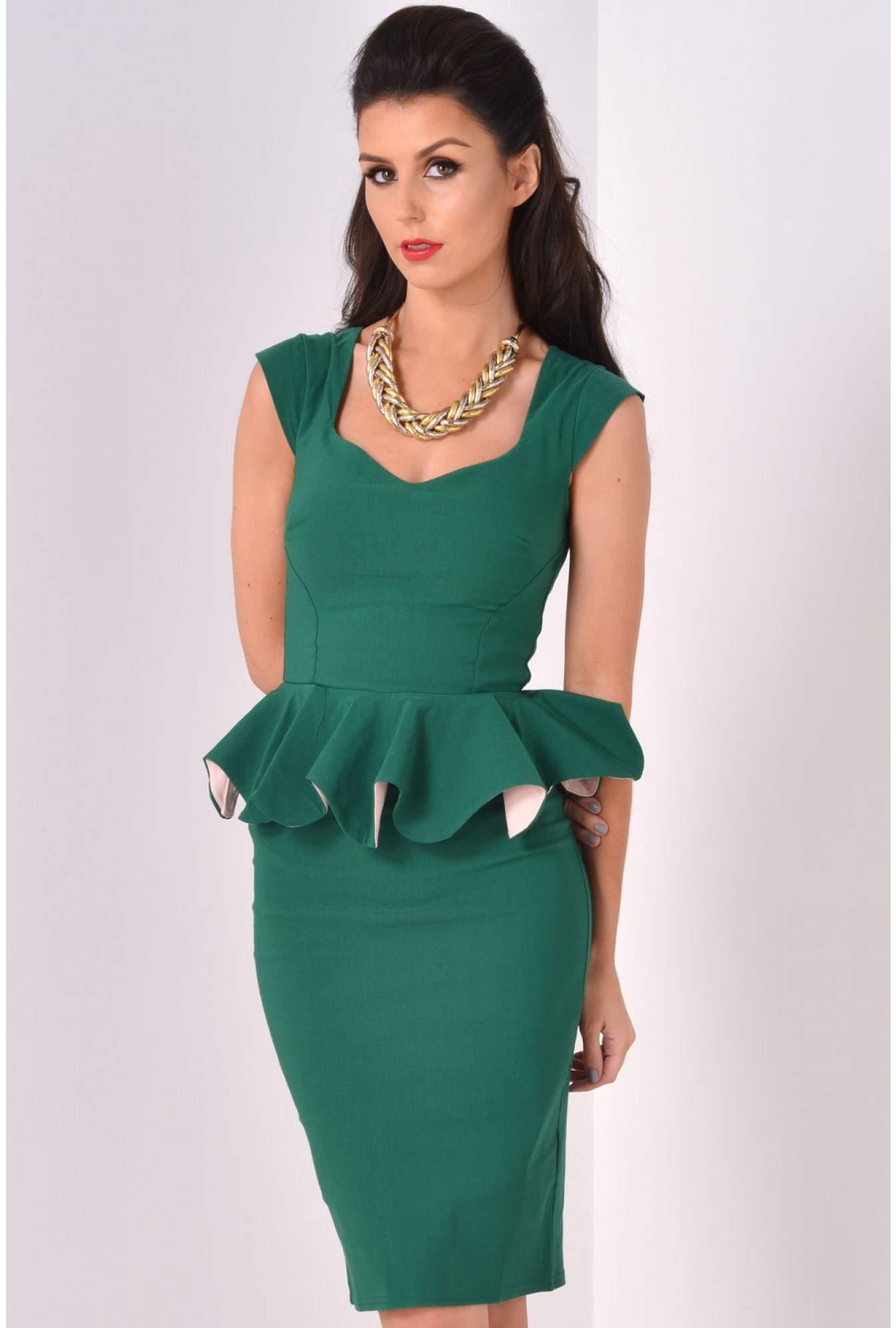 26770f3c09f Linda Frill Peplum Pencil Dress in Emerald