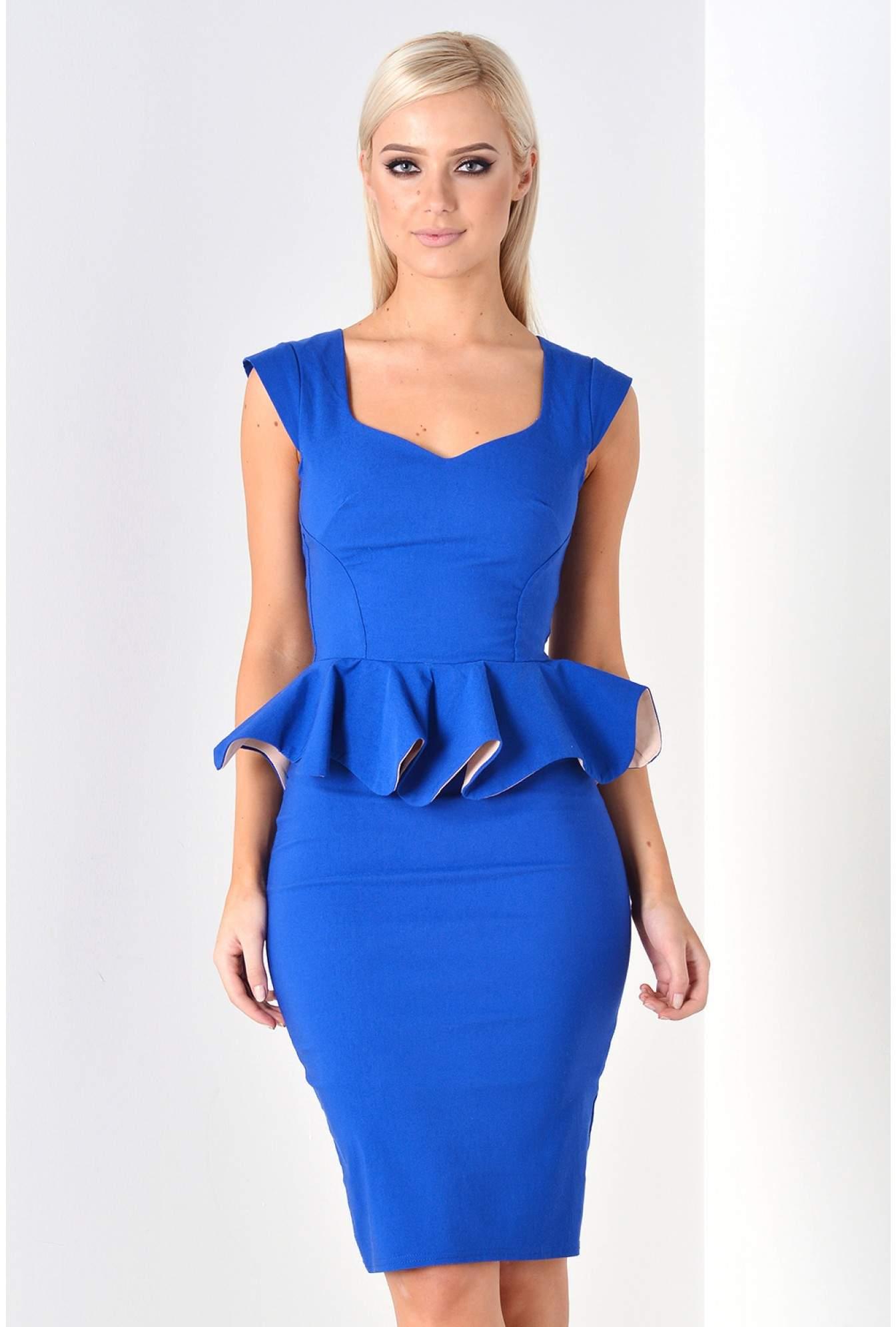 bc77728e7ca Goddiva Linda Frill Peplum Pencil Dress in Royal Blue