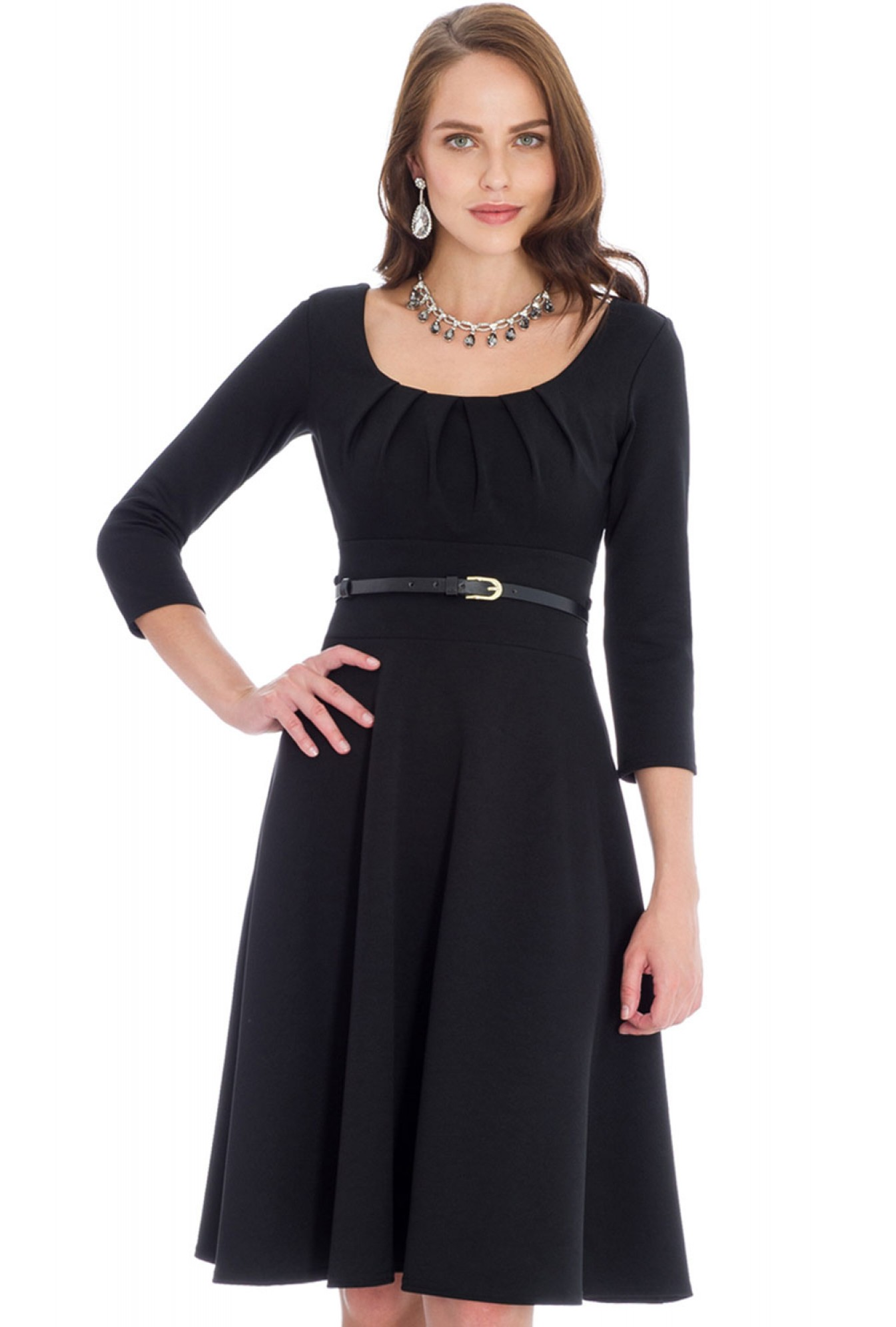 c42fee10ea9 Goddiva Flavia Full Skirt Midi Dress With Belt in Black