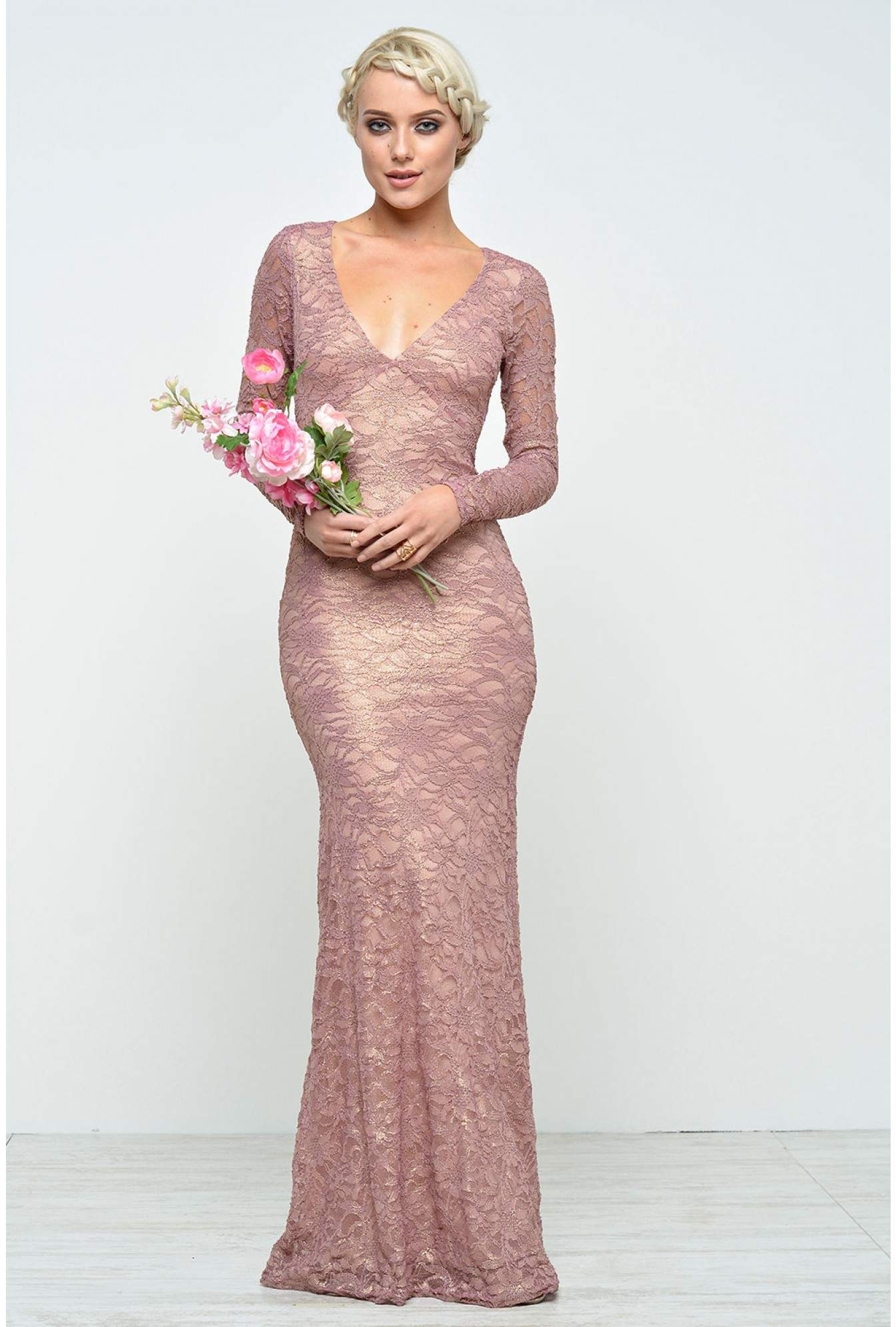 3b2e8a8c228 More Views. Bailey Open Back Lace Maxi Dress in Dusky Pink