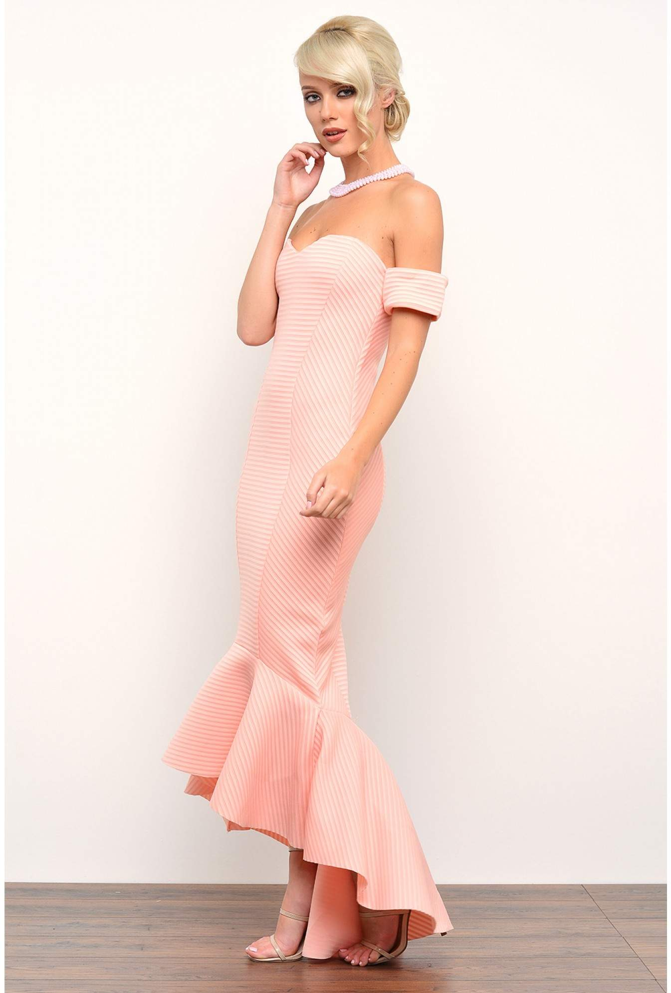 864660c8134 Goddiva Olive Bardot Fishtail Maxi Dress in Peach