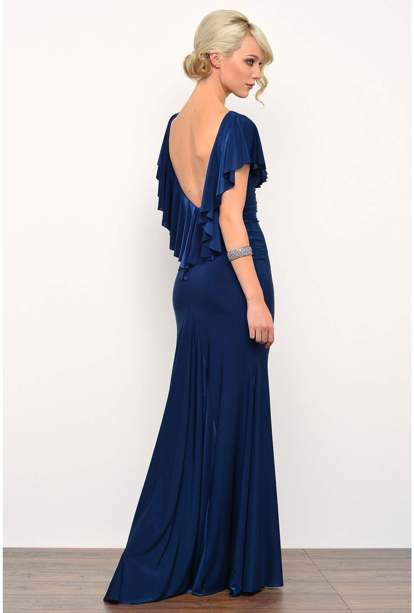 f24295521aac3 Paula Open Back Ruffle Maxi Dress in Navy