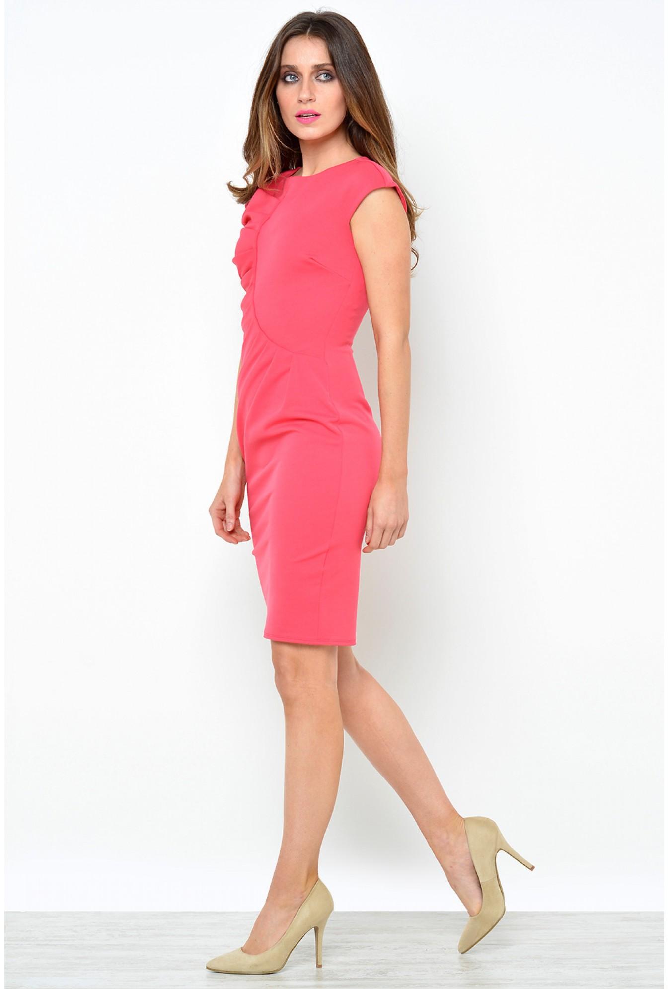 Goddiva Jaden Pleated Midi Dress in Coral  62ddf78bd