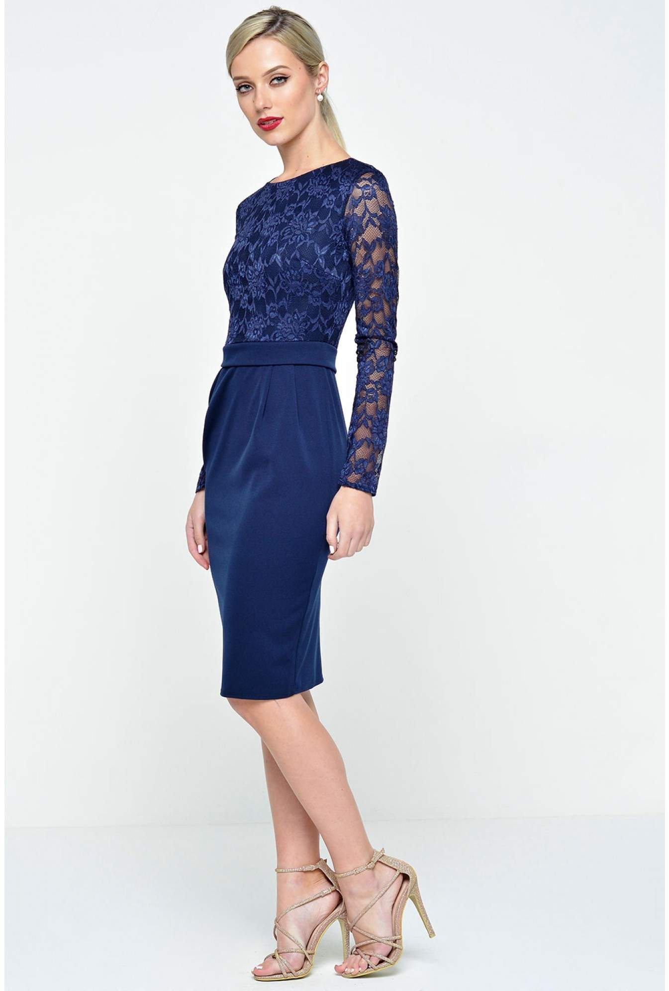 More Views. Francine Lace Sleeve Midi Dress in Navy 9ca5e18e2