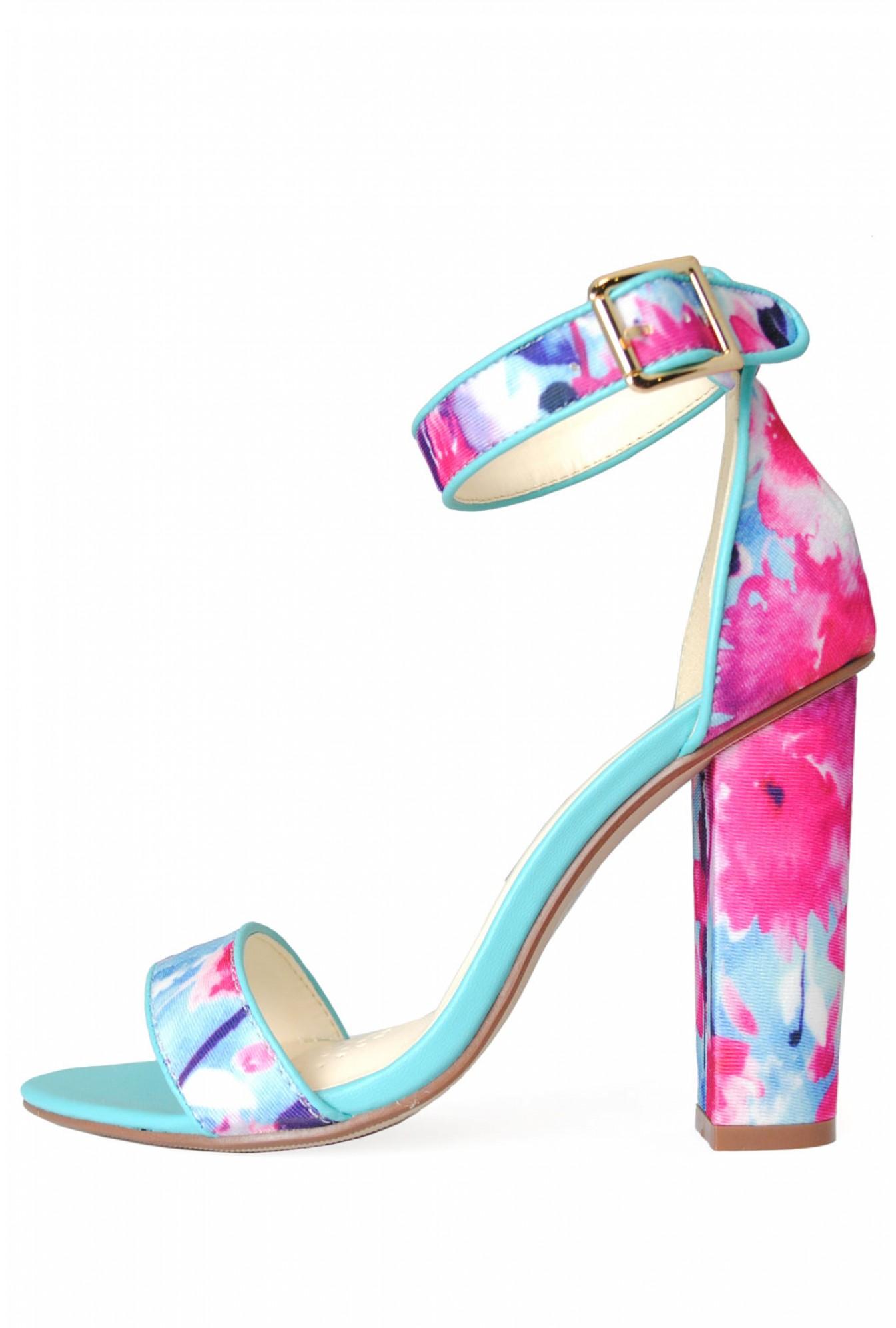 ff8cf42d830 C M Paris Alanis Floral Block Heel Sandal in Blue