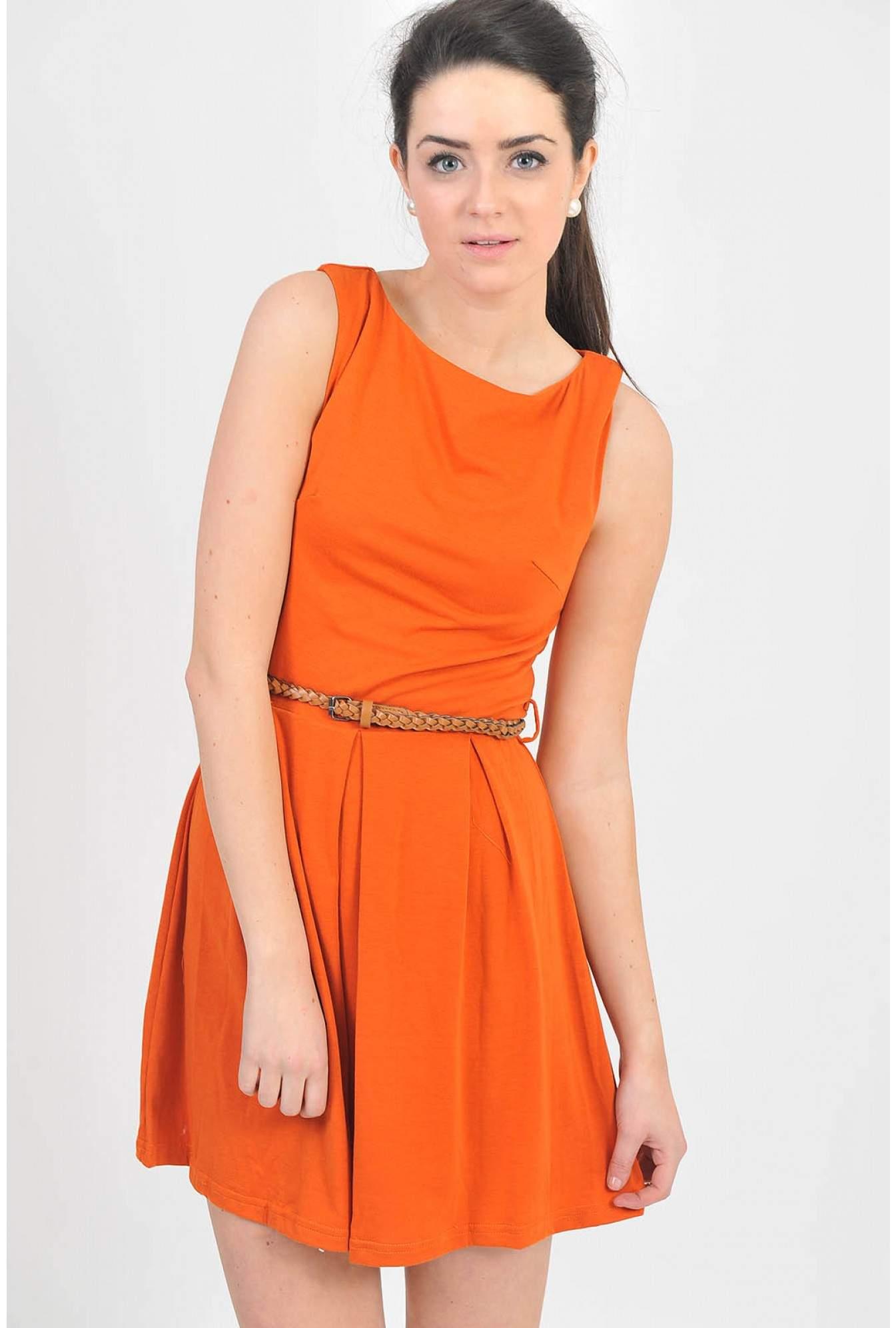 AX Paris Rosie Belted Pleat Dress in Orange  36b67906c