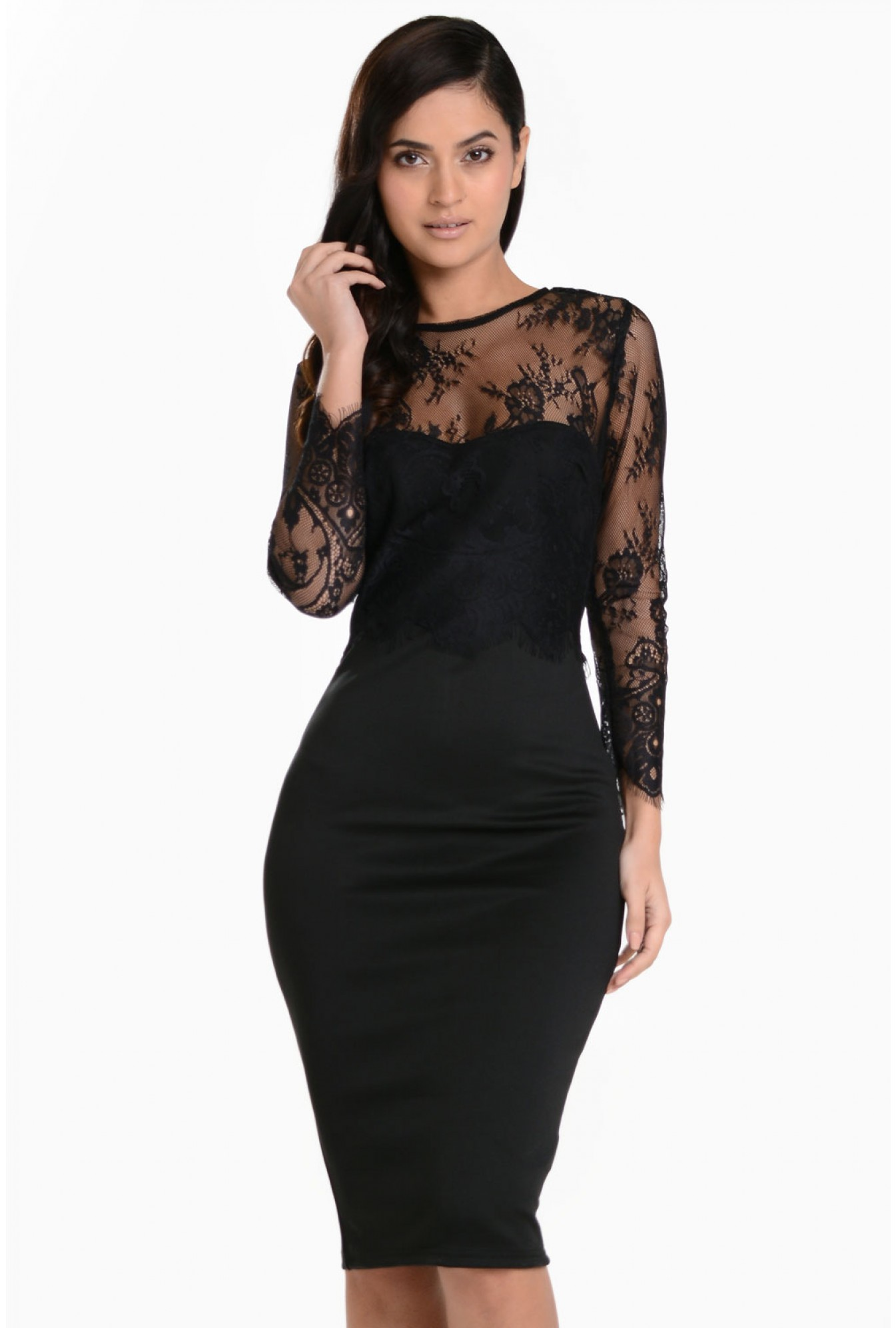 0b5094a5d8d6c More Views. Maddison Lace Sleeve Overlay Midi Dress in Black. AX Paris