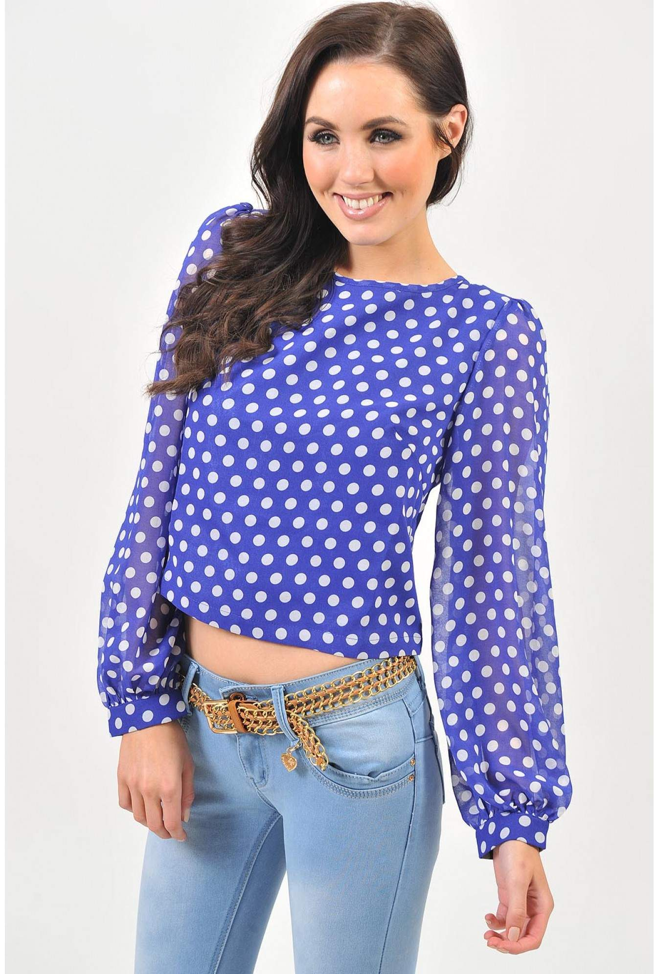 2a11ea56aad Faith Polka Dot Chiffon Cropped Top in Blue | iCLOTHING