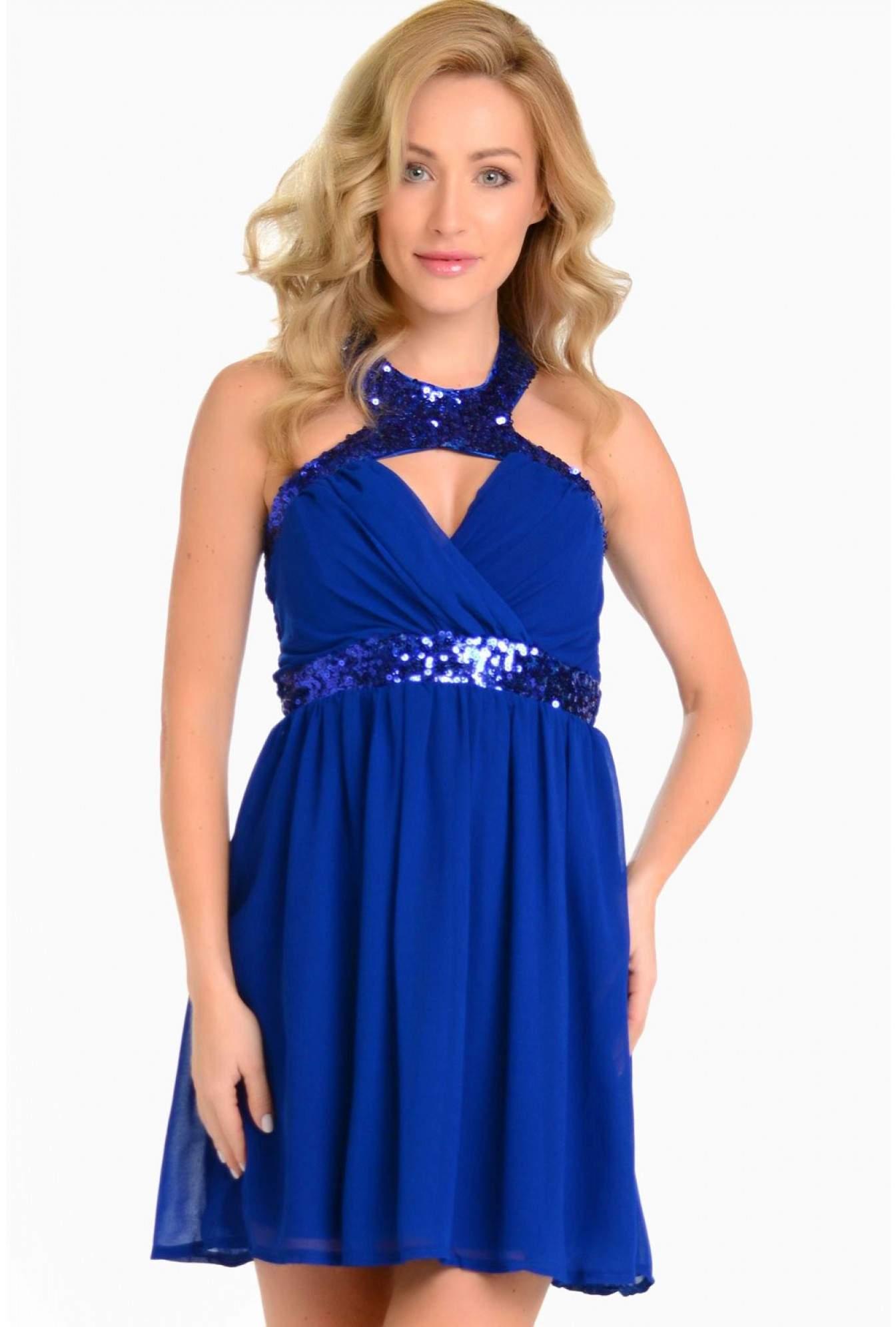 9dbbc7f50e595 More Views. Jessica Sequin Halter Neck Dress in Blue