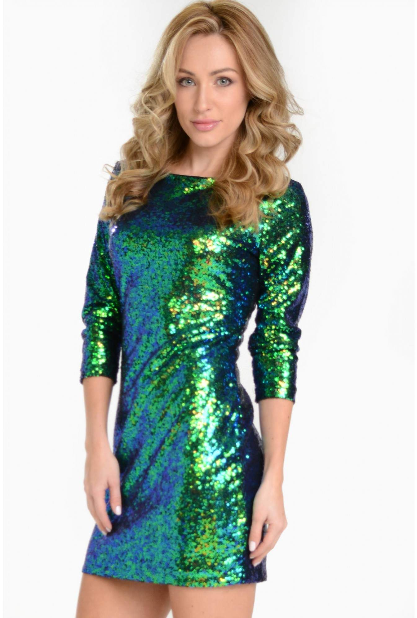 1eb32018ca34 More Views. Marina Sequin Dress in Green