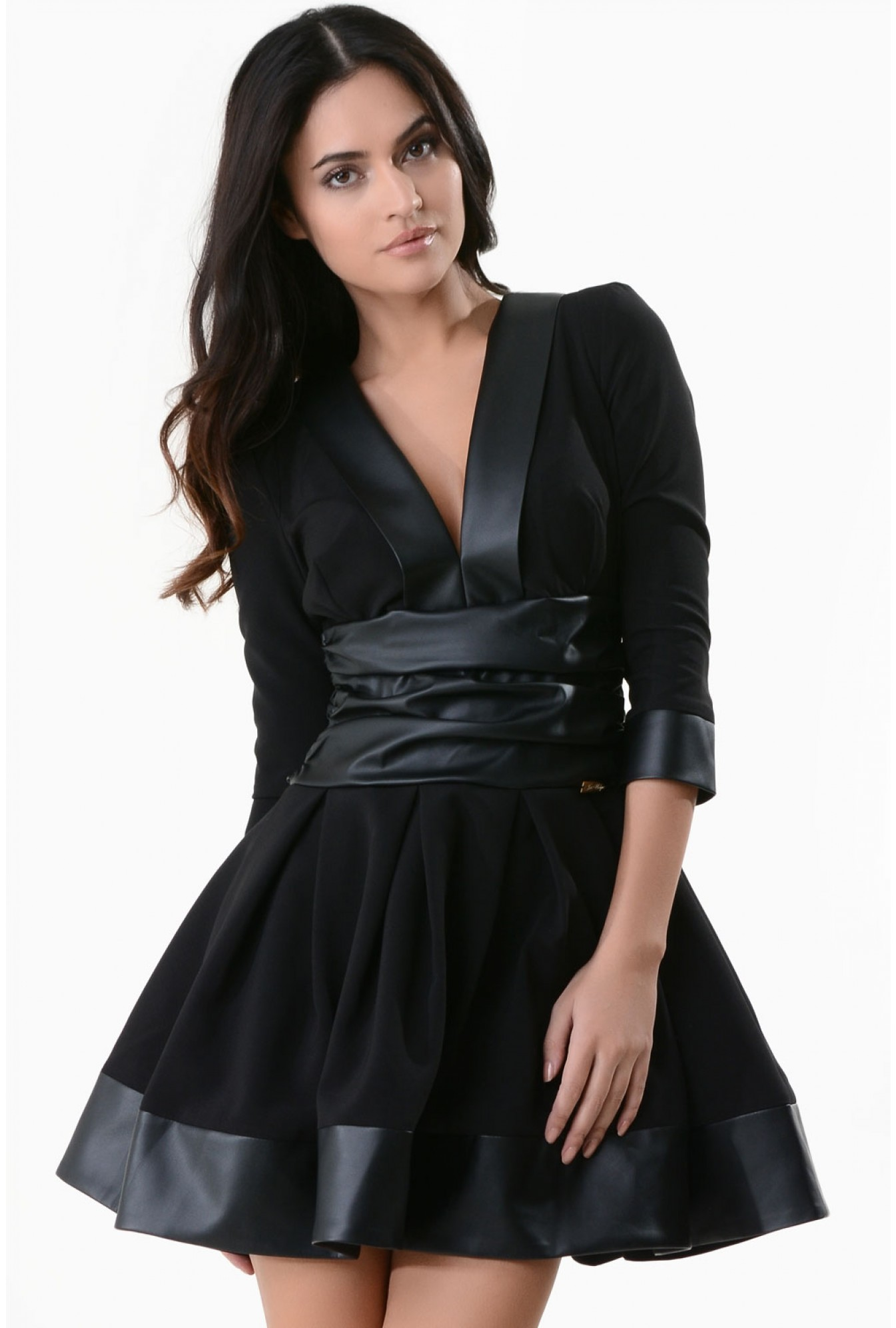 5fce926d435 More Views. Cayla Plunge Neck Skater Dress in Black