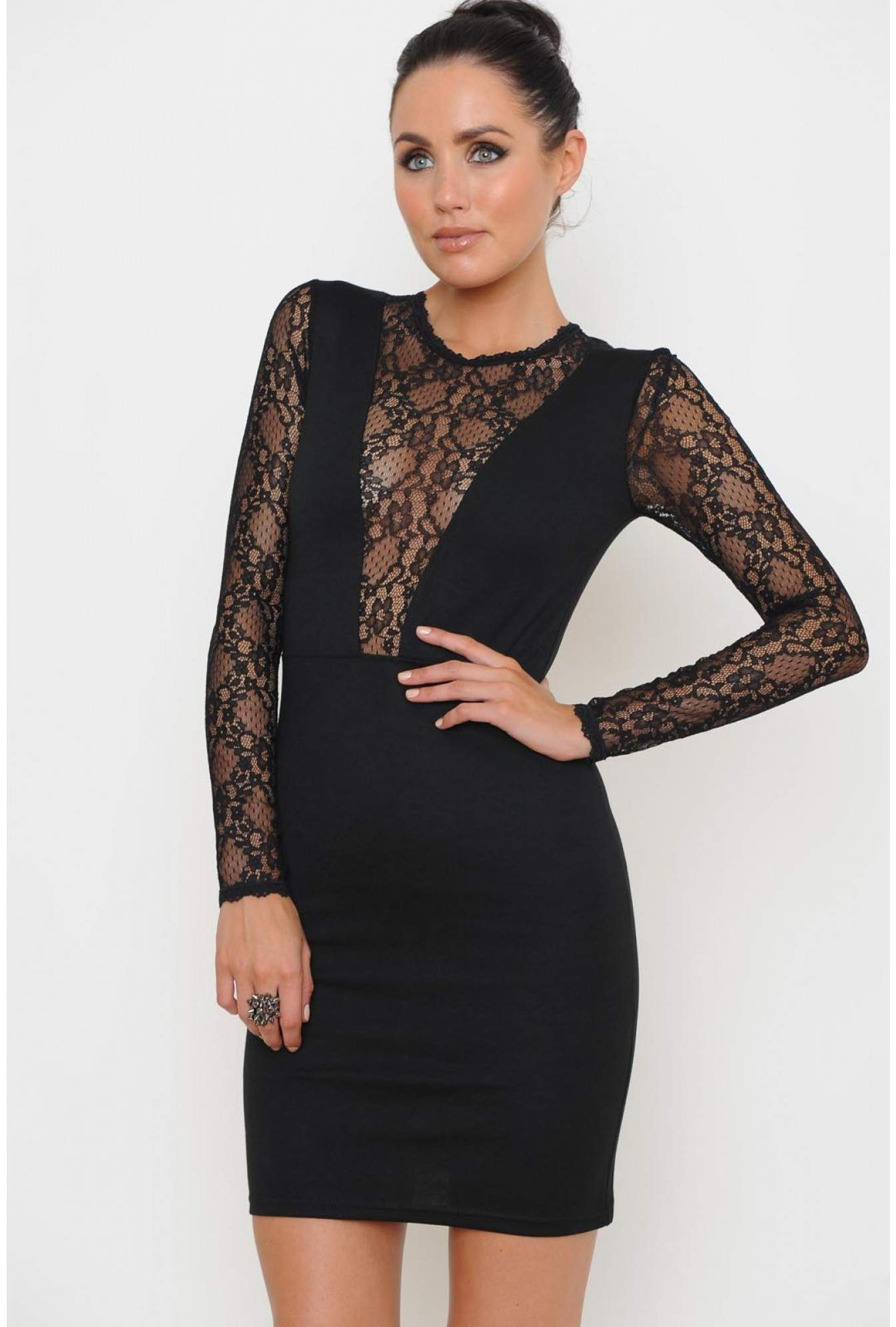 3a8abf27 Ursulla Lace Panel Bodycon Dress in Black | iCLOTHING