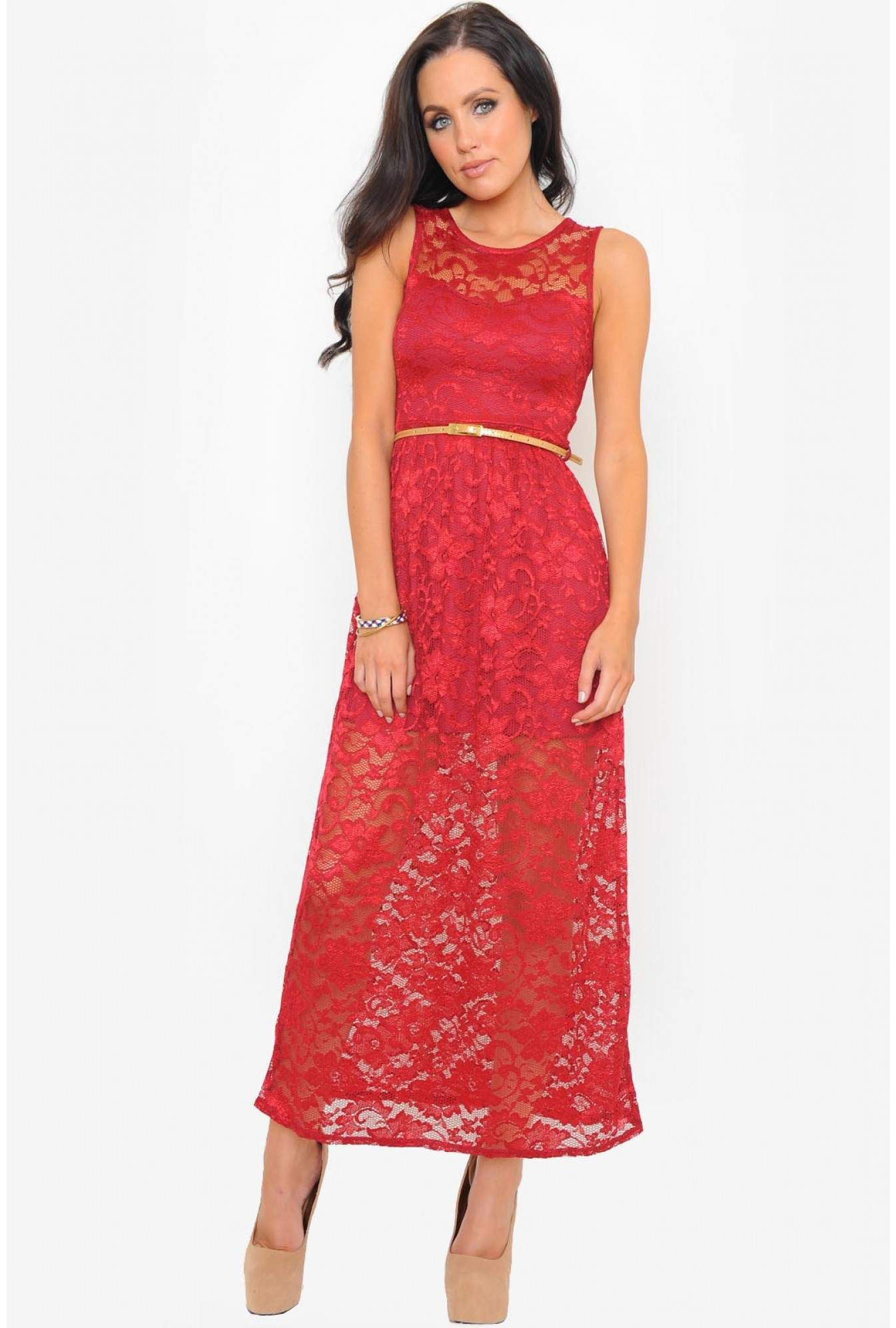 3509c8afd423 More Views. Louise Full Lace Maxi Dress in Burgundy