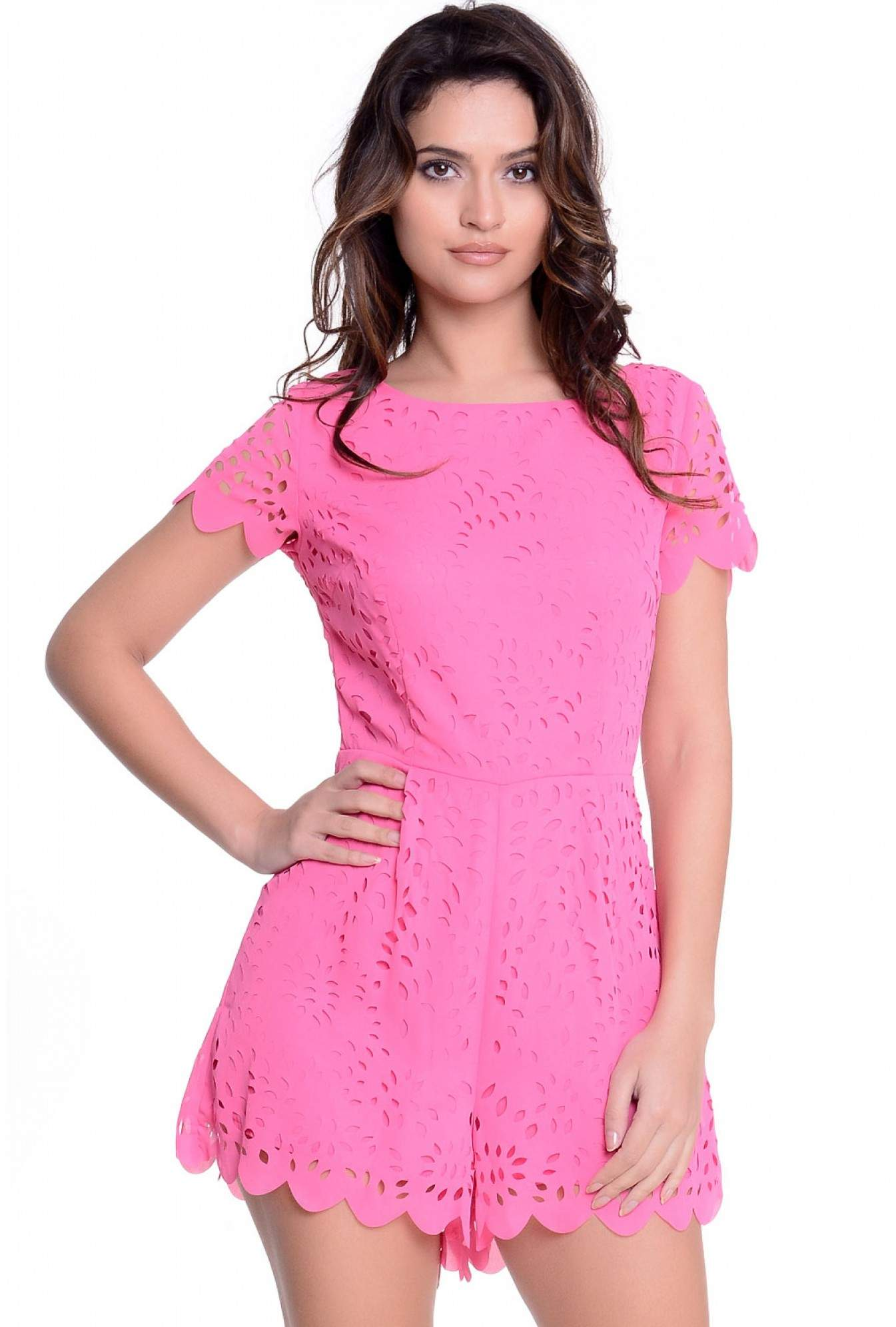 82b56ff486b AX Paris Teela Allover Laser Cut Playsuit in Pink