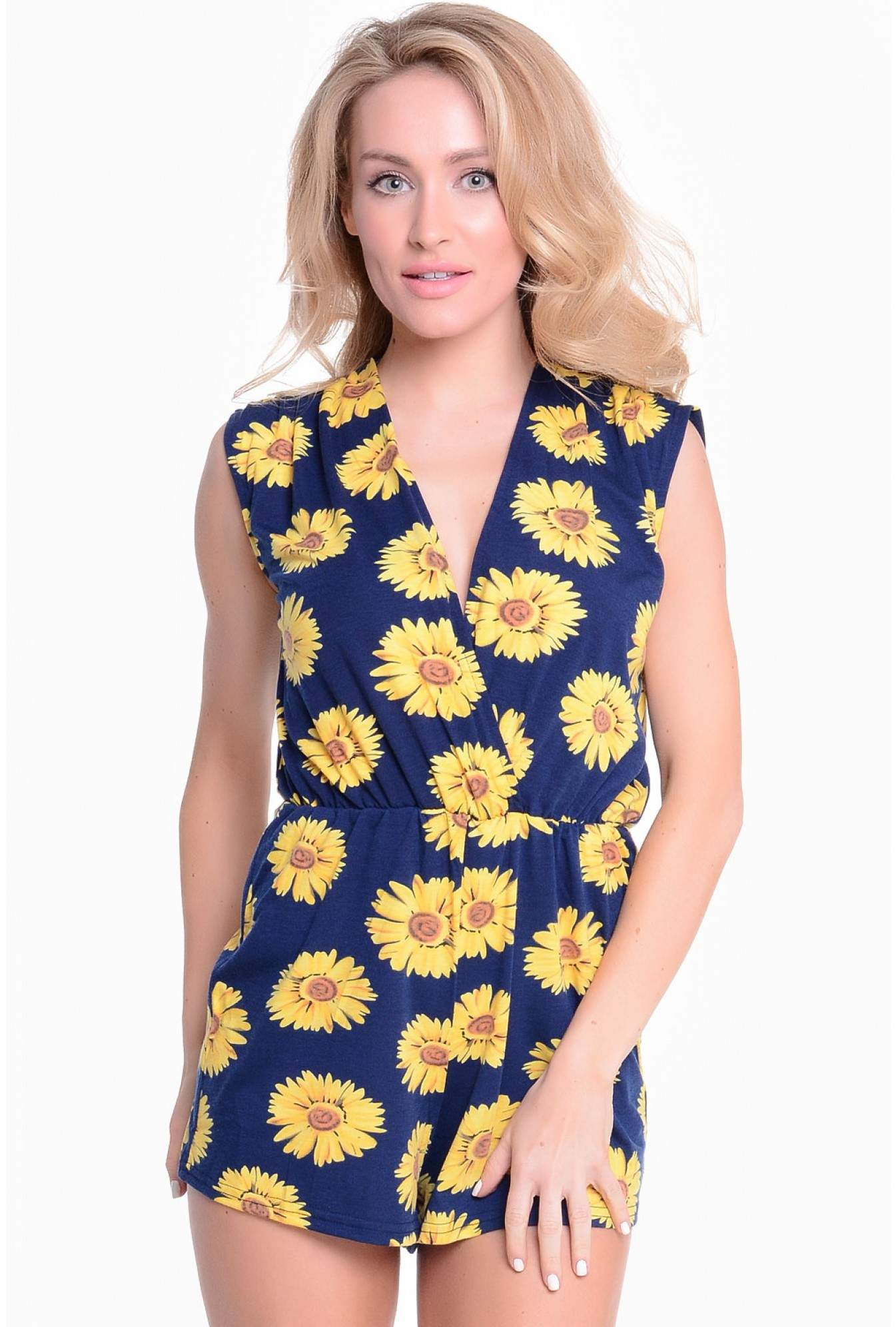 b4d531cd34f8a4 AX Paris Janet Daisy Wrap Front Playsuit in Navy   iCLOTHING