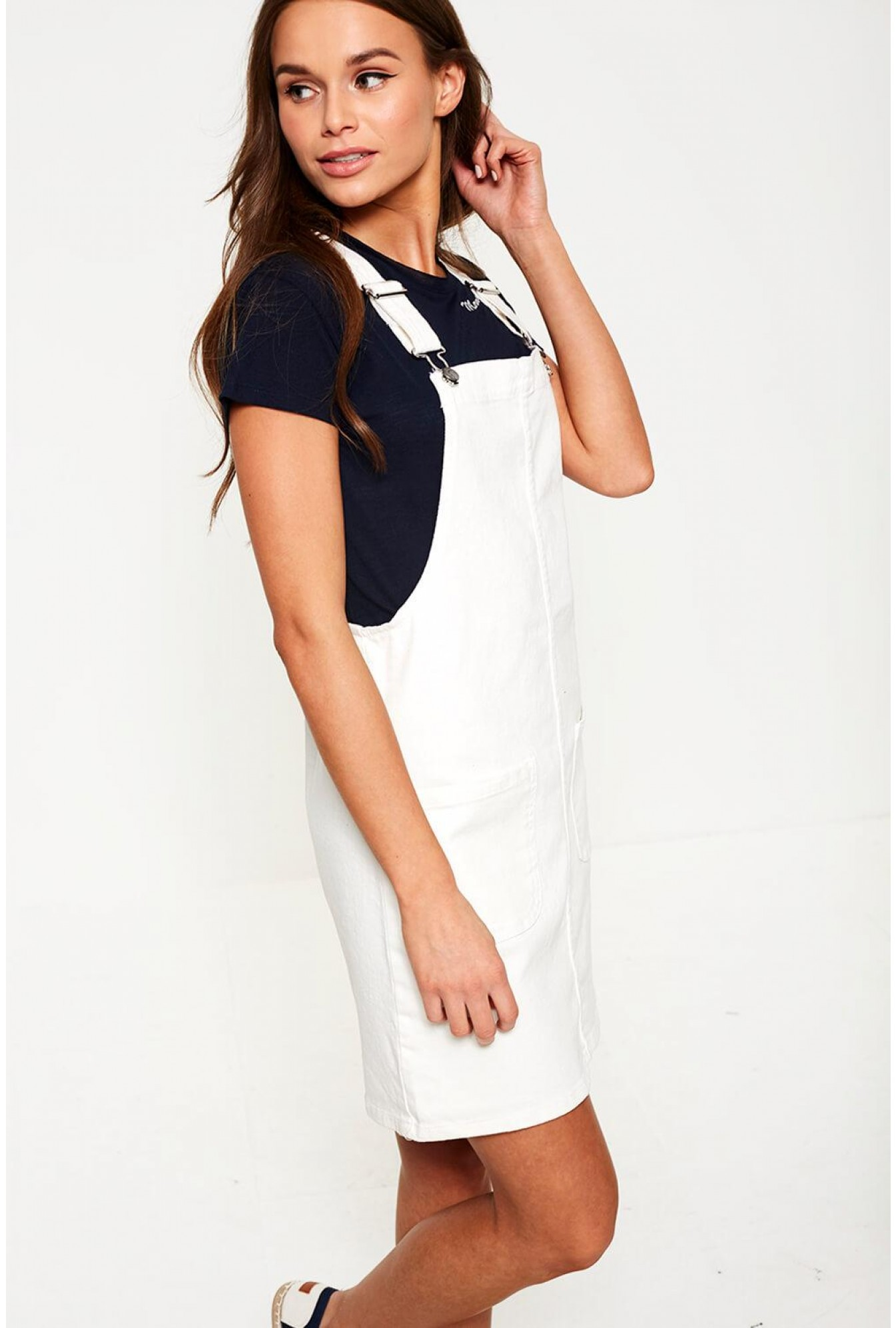b053f6d559a6 More Views. Dungaree Dress in White
