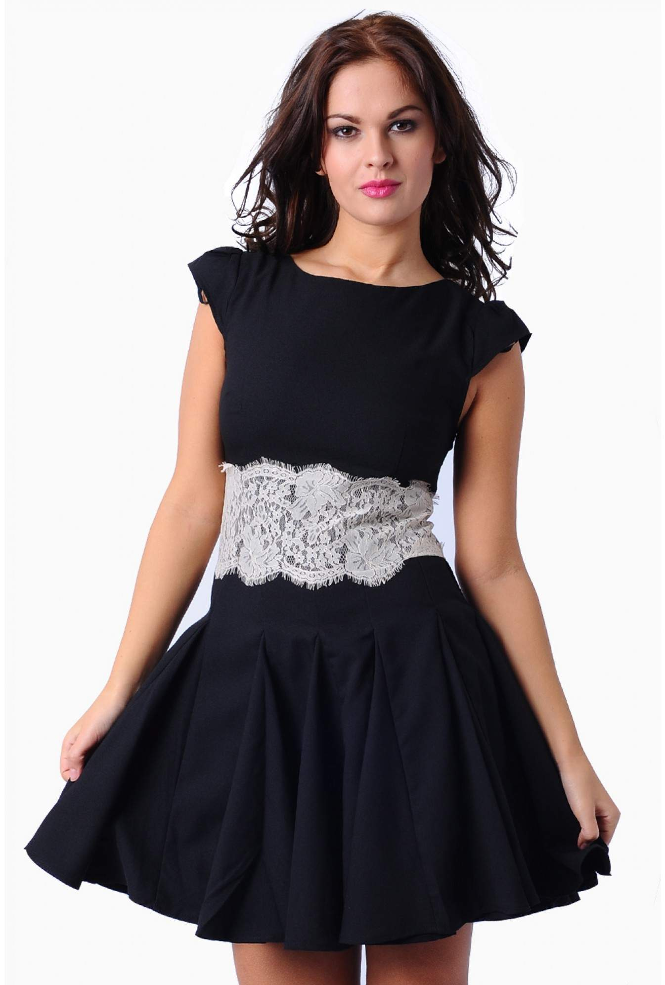 More Views. Mandy Lace Waist Skater Dress in Black. AX Paris 9ed071755
