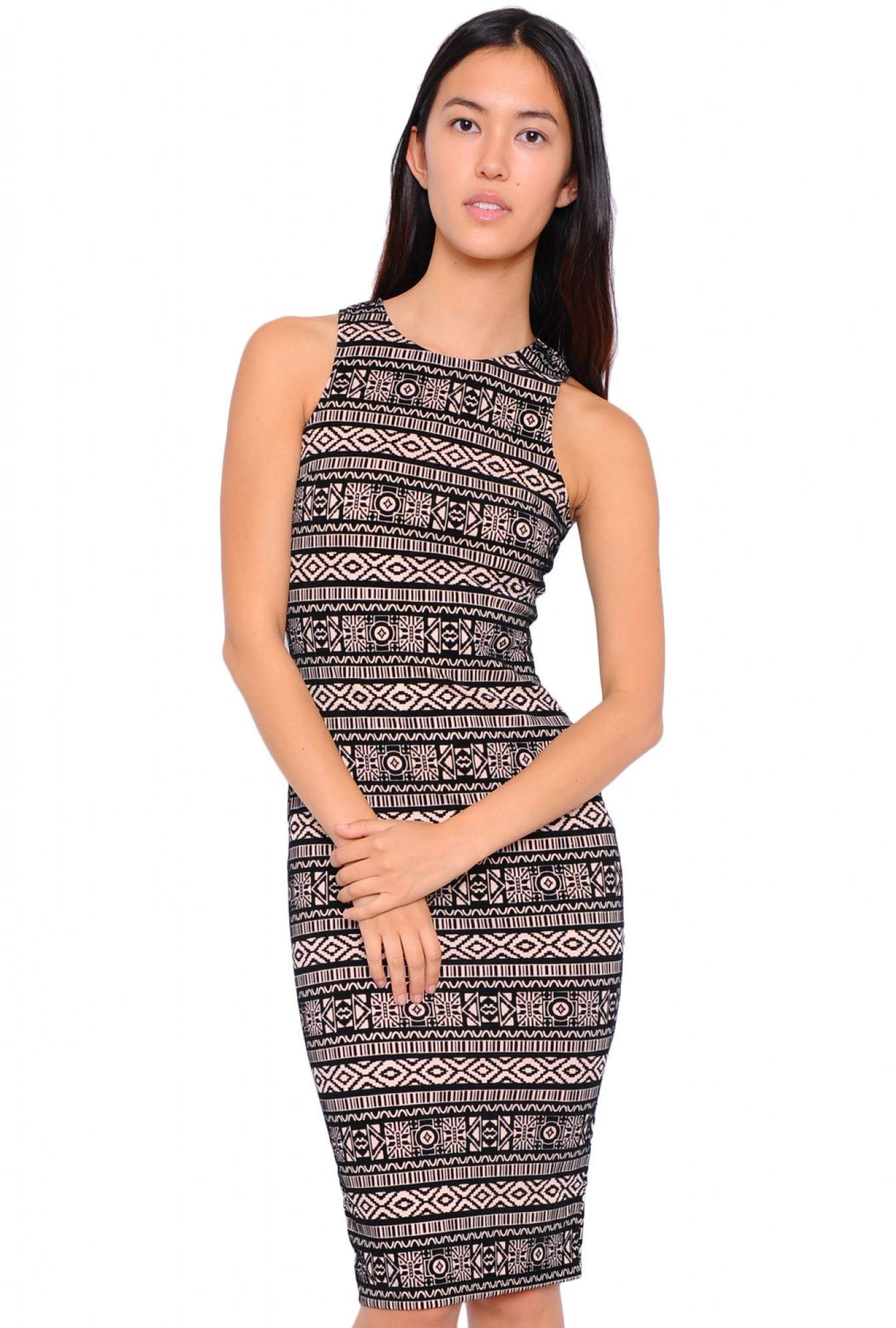 affd6685292f More Views. Kylie Flock Cut In Neck Aztec Midi Dress