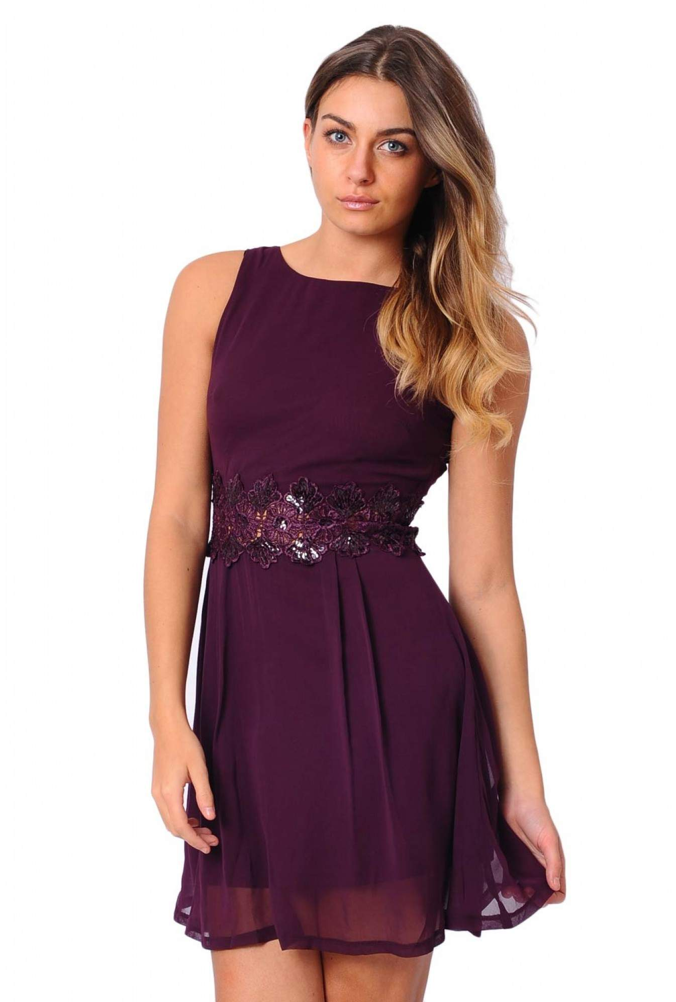 9e7f8febb4 More Views. Loretta Chiffon Sequin Waist Skater Dress in Aubergine. AX Paris