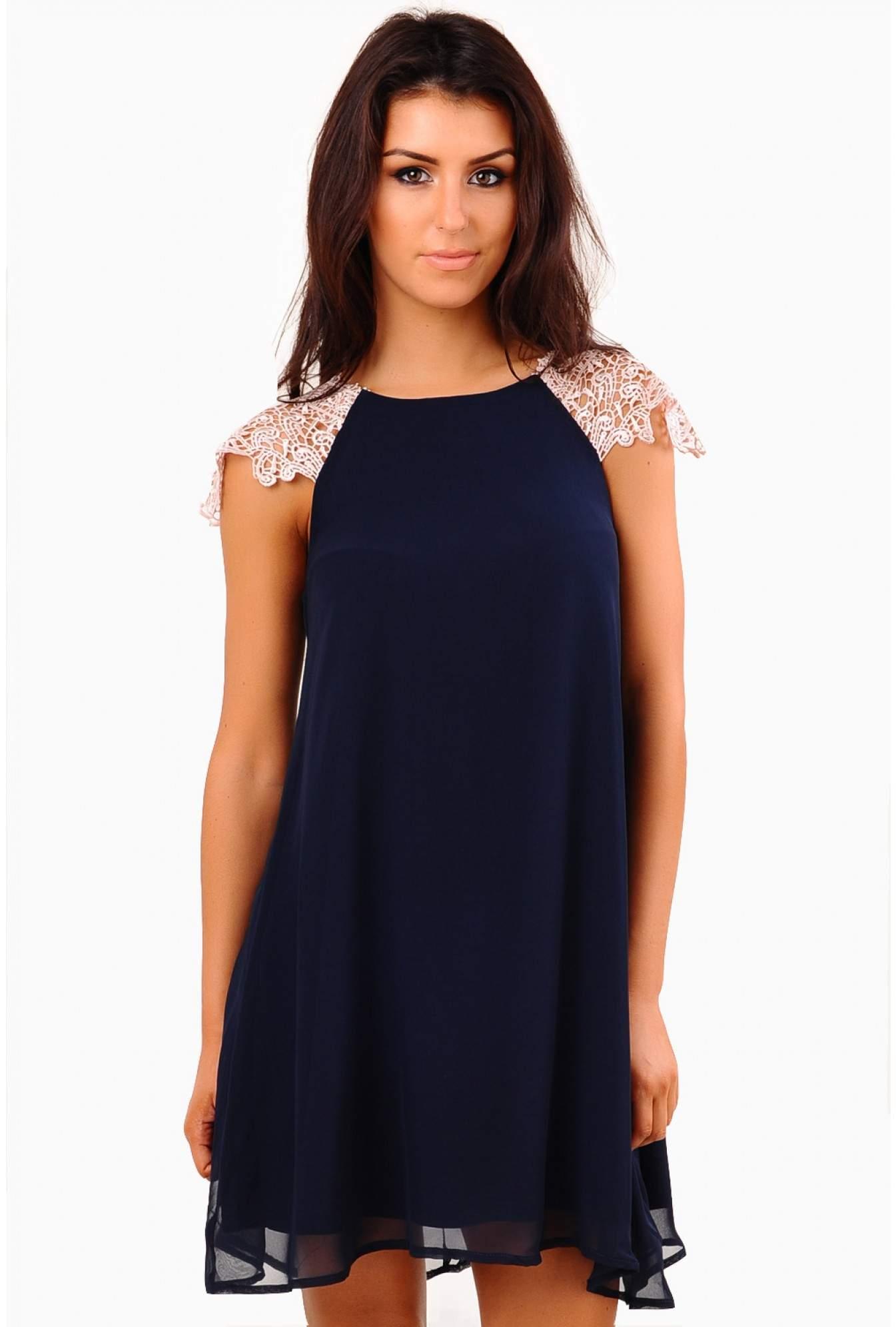 6dcb13b20e41d AX Paris Juliana Crochet Detail Swing Dress in Navy | iCLOTHING