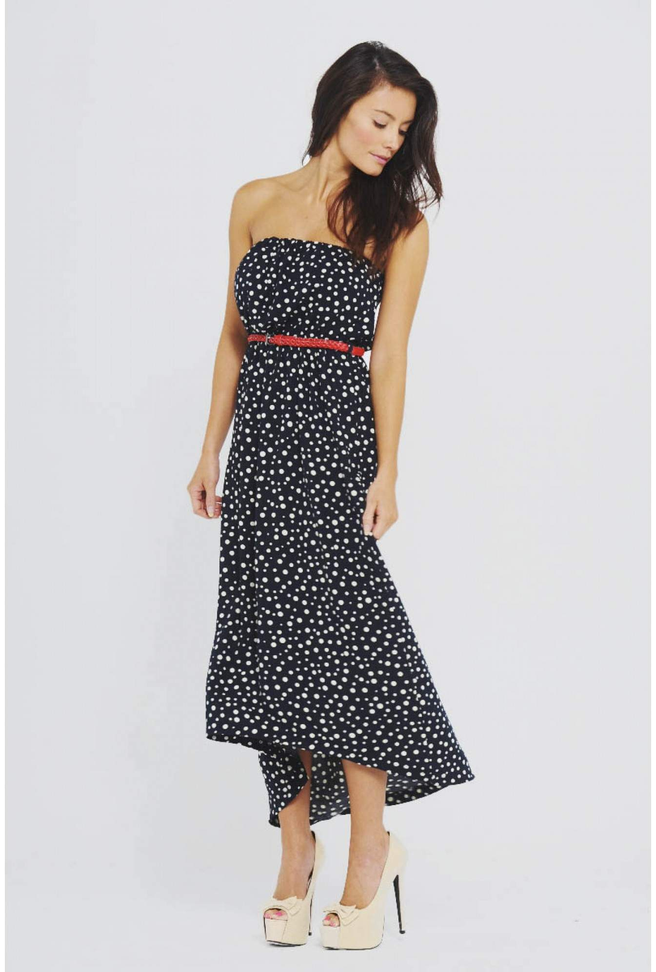60549127ff AX Paris Jessica Strapless Spotted Back Drop Maxi
