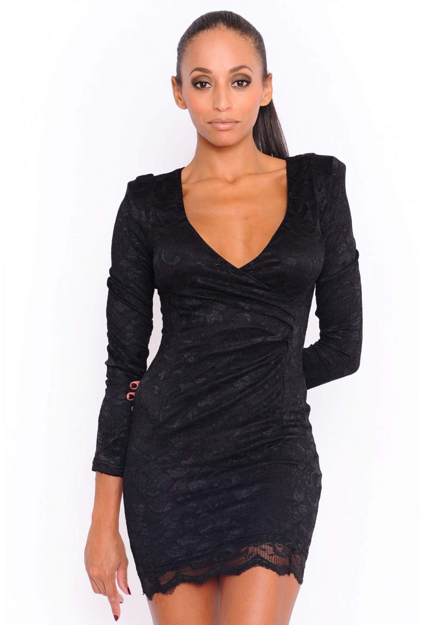 1660b13a41bbb AX Paris Willow Lace Long Sleeve V Front Dress in Black | iCLOTHING