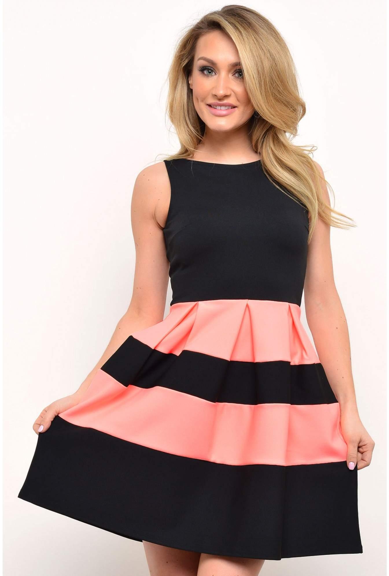 2369c1ac83 Evita Kellie Colour Block Skater Dress in Black and Coral